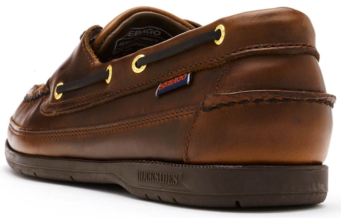 Sebago-Schooner-FGL-Waxed-Leather-Boat-Deck-Shoes-in-Brown-amp-Navy-Blue thumbnail 16