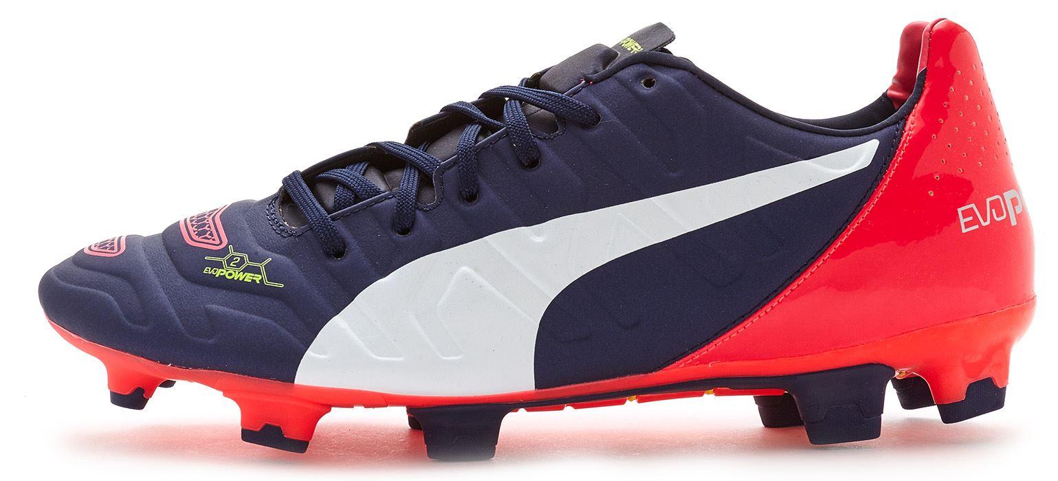 Puma evoPOWER 2.2 Scarpe da calcio FG tacchetti in blu Bianco Rosso 103211 01