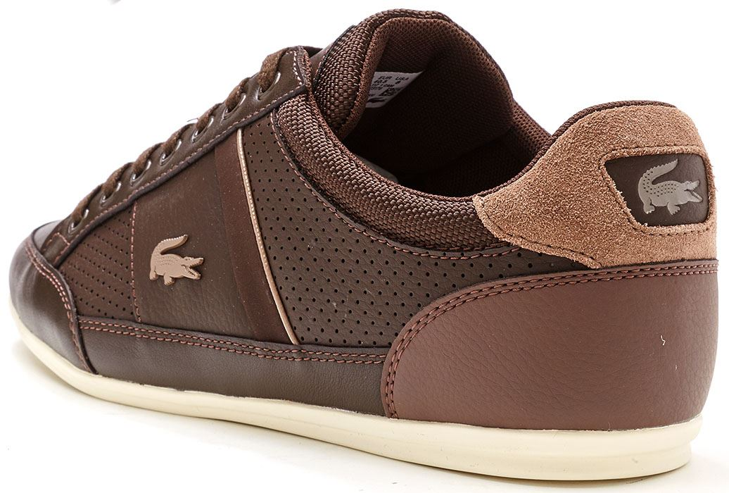5a3b0f940089 Lacoste Chaymon 117 1 CAM Leather Trainers in Navy Blue   Brown ...
