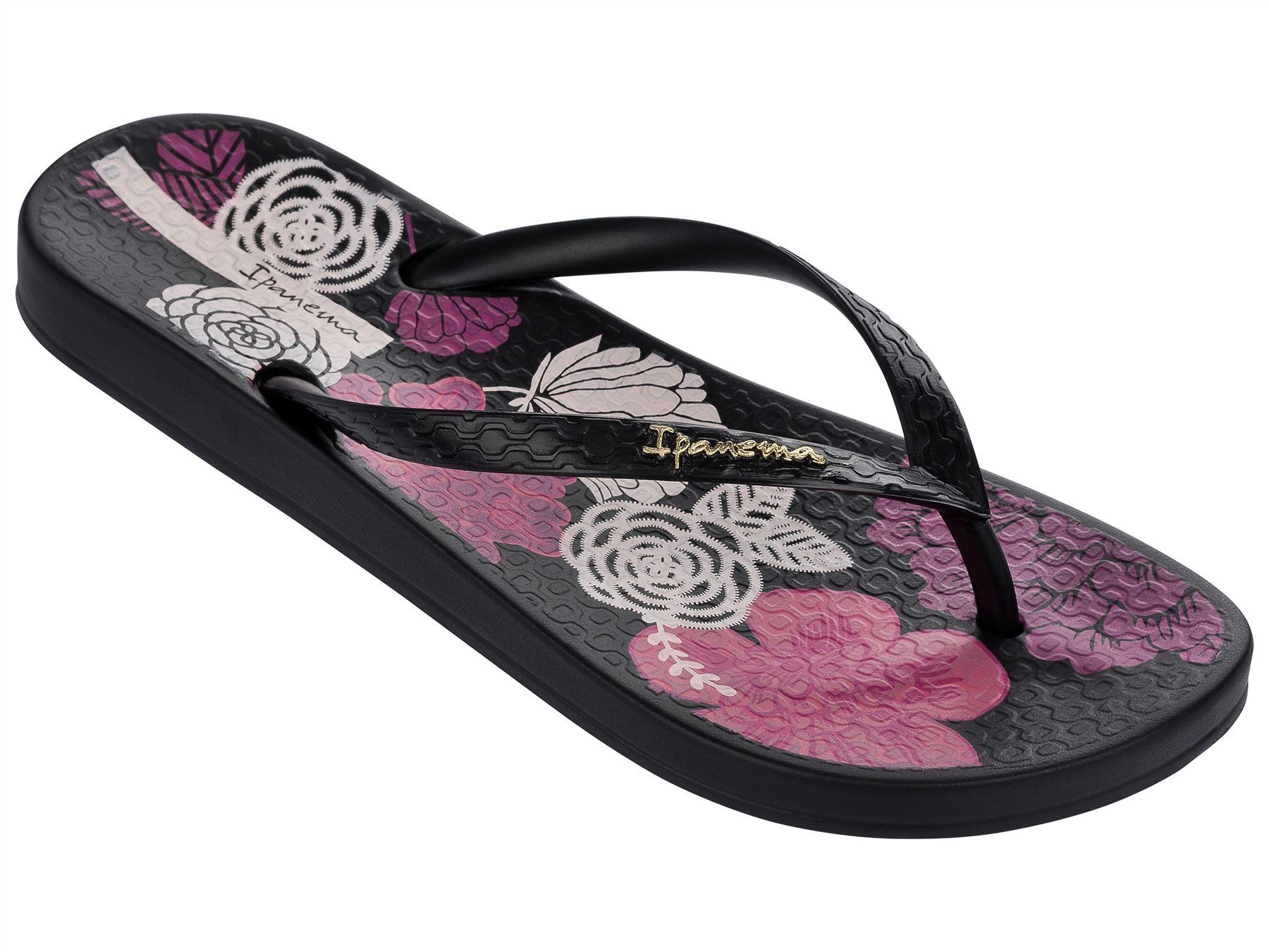 d45762a0b4e0 Ipanema Petal V Flowers Print Slim Footbed Flip Flops Beach Sandals 81924.  Description A tropical floral print brings charm to this feminine style.
