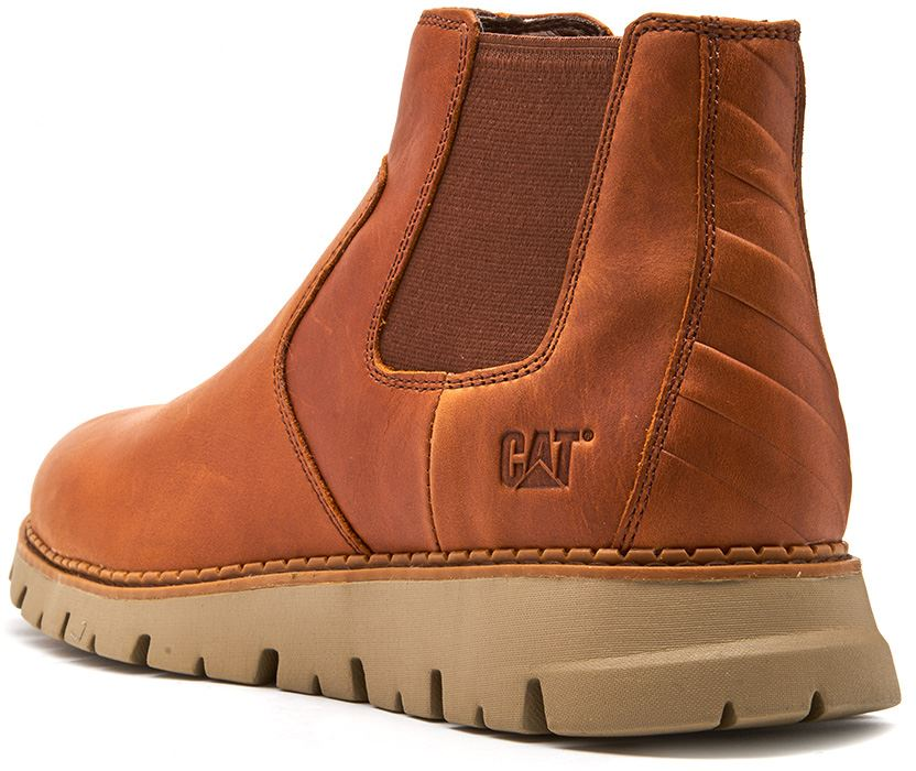 Caterpillar-CAT-Kase-Leather-Ankle-Chelsea-Boots-in-Brown-amp-Tan thumbnail 8