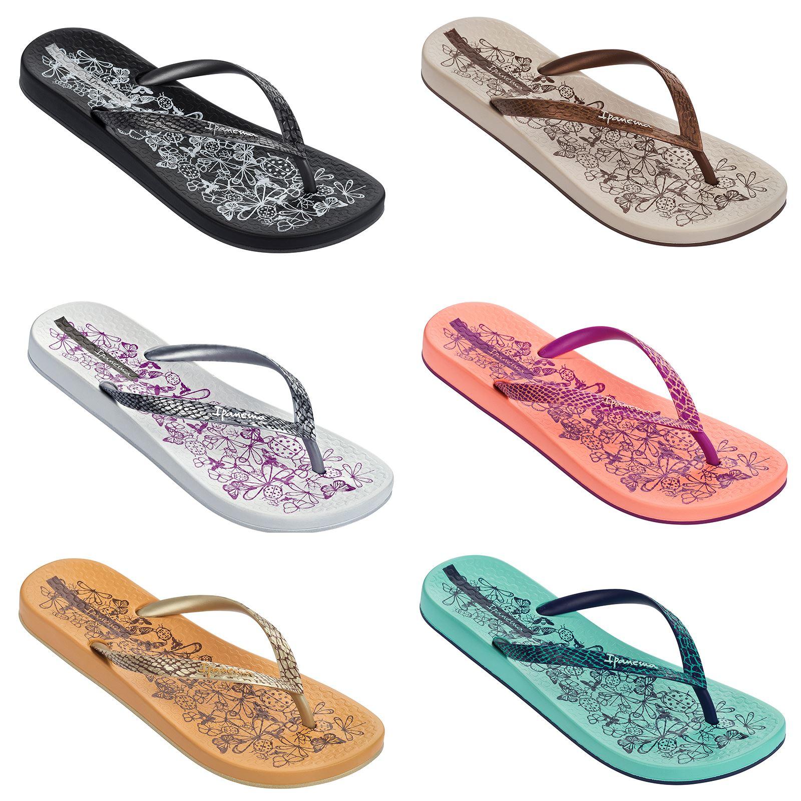 249e8b787d01 Details about Ipanema Nature Slim Footbed Flip Flops Beach Sandals Flowers  Print 81926