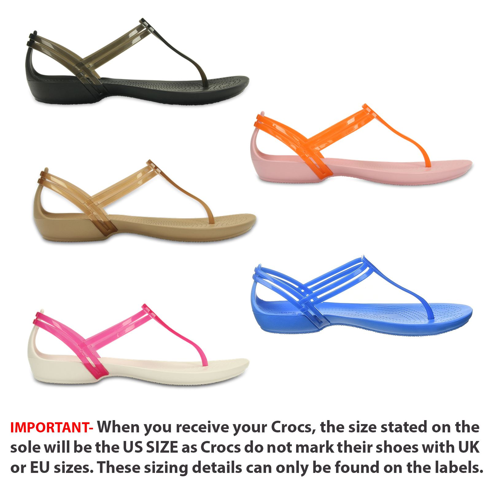 Cena obniżona najlepszy wybór niska cena Details about Crocs Isabella T-Strap Relaxed Fit Sandals in Wide Range of  Colours 202467