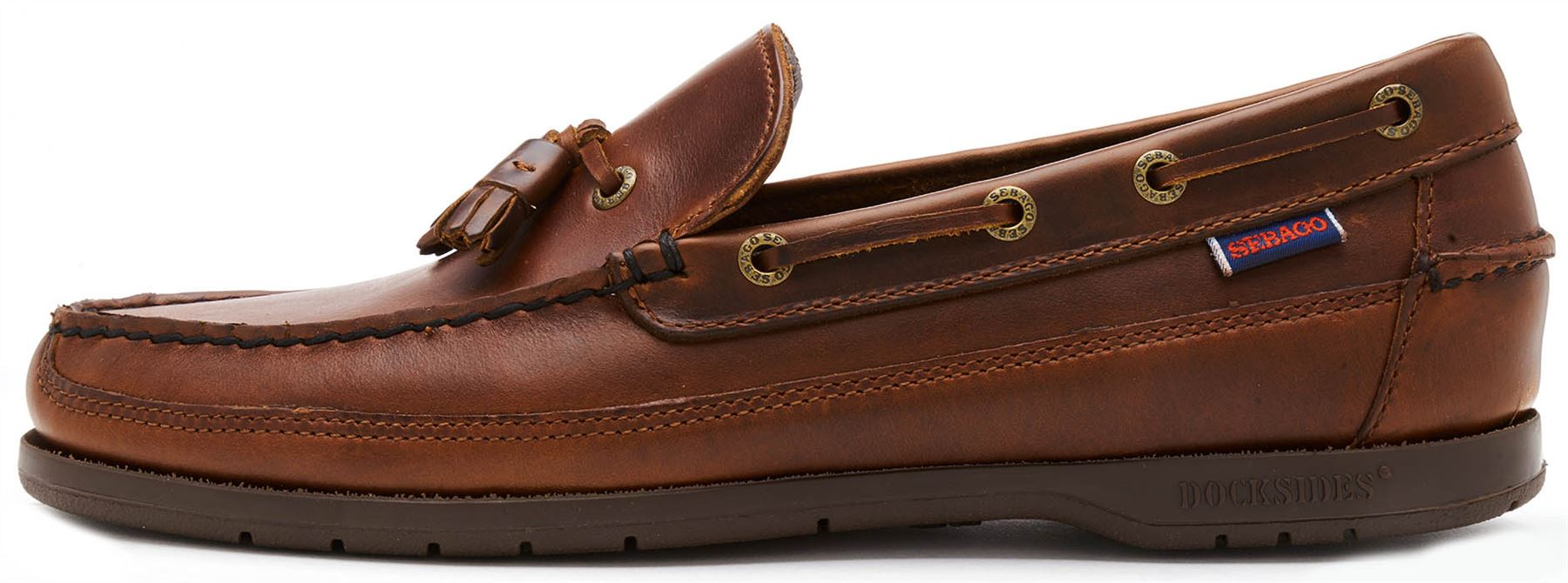 a6a6685ab0708 Details about Sebago Ketch FGL Oiled Waxy Leather Moccasin Regular & Wide  Width Shoes in Brown