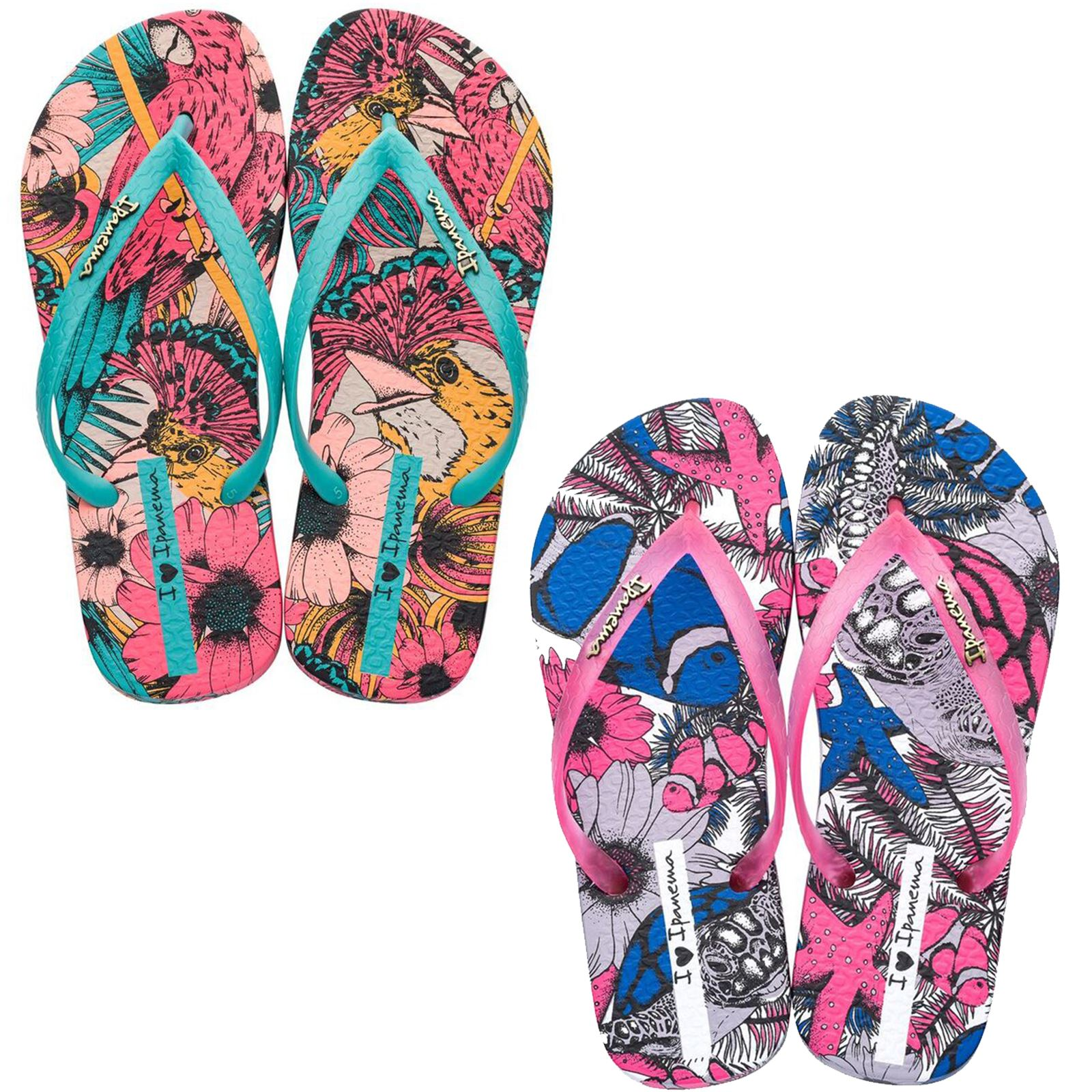 fddf39b31b4647 Details about Ipanema Tropical Beauty Flip Flops Sandals in Pink    Turquoise 82458