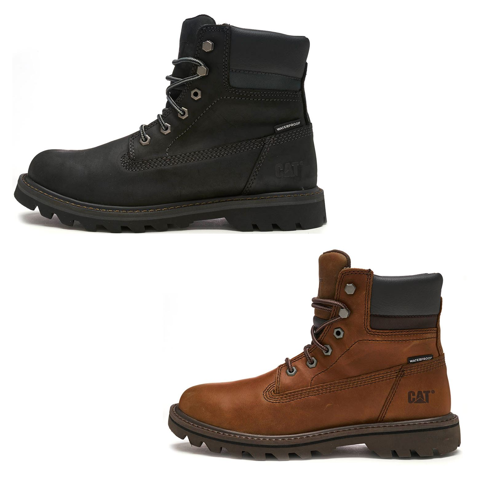 234a3b51925 Caterpillar CAT Deplete Waterproof Boots in Black   Brown