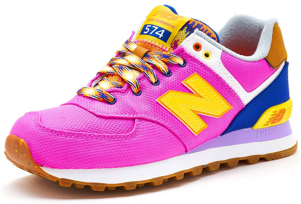 differently f8f31 b20fe Details about New Balance 574 Suede Retro Women Trainers in Pink & Yellow  WL574 EXB