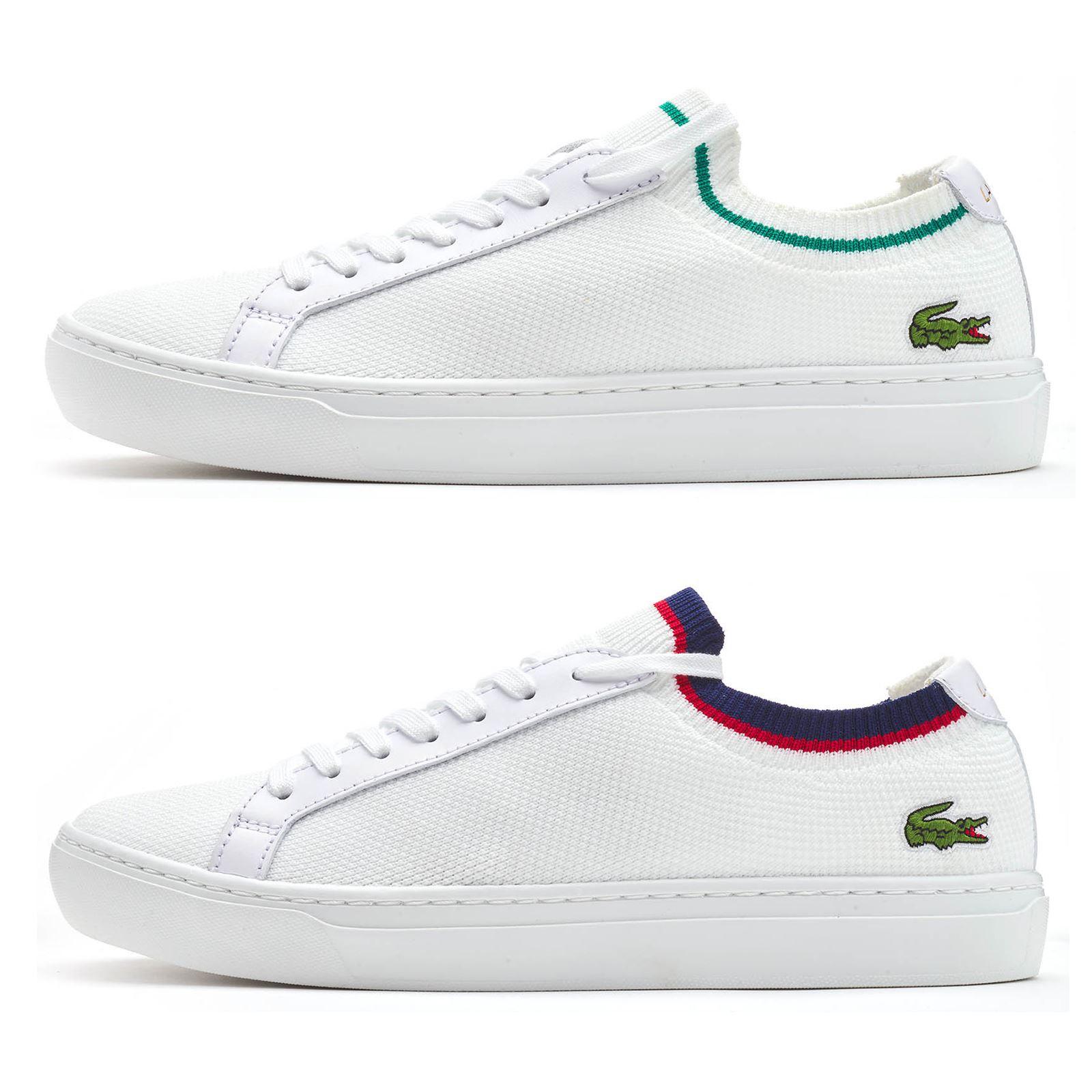 4f62eeb0c359b8 Details about Lacoste La Piquee 119 1 CMA Lace Up Textile Trainers in White    Green   Blue