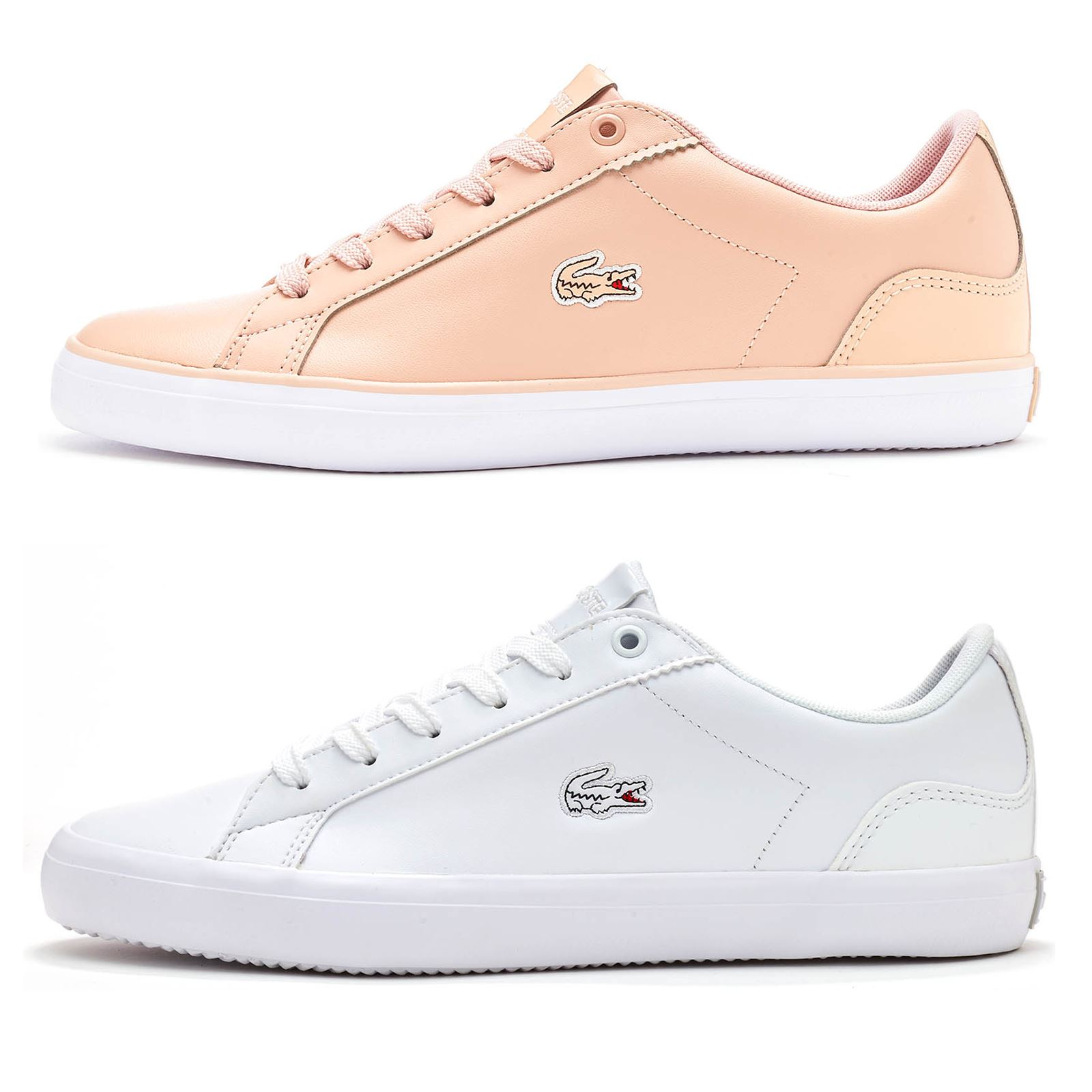 b7e1826fac3195 Details about Lacoste Lerond 118 1 QSP Women Leather Trainers in White    Pink 735CAW0093