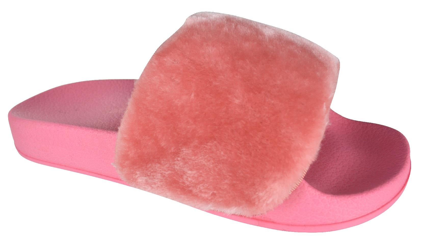 d225bce834b Details about Ladies Women Slip On Fluffly Fur Slippers Slide Sandals Pink,  White Grey Rainbow