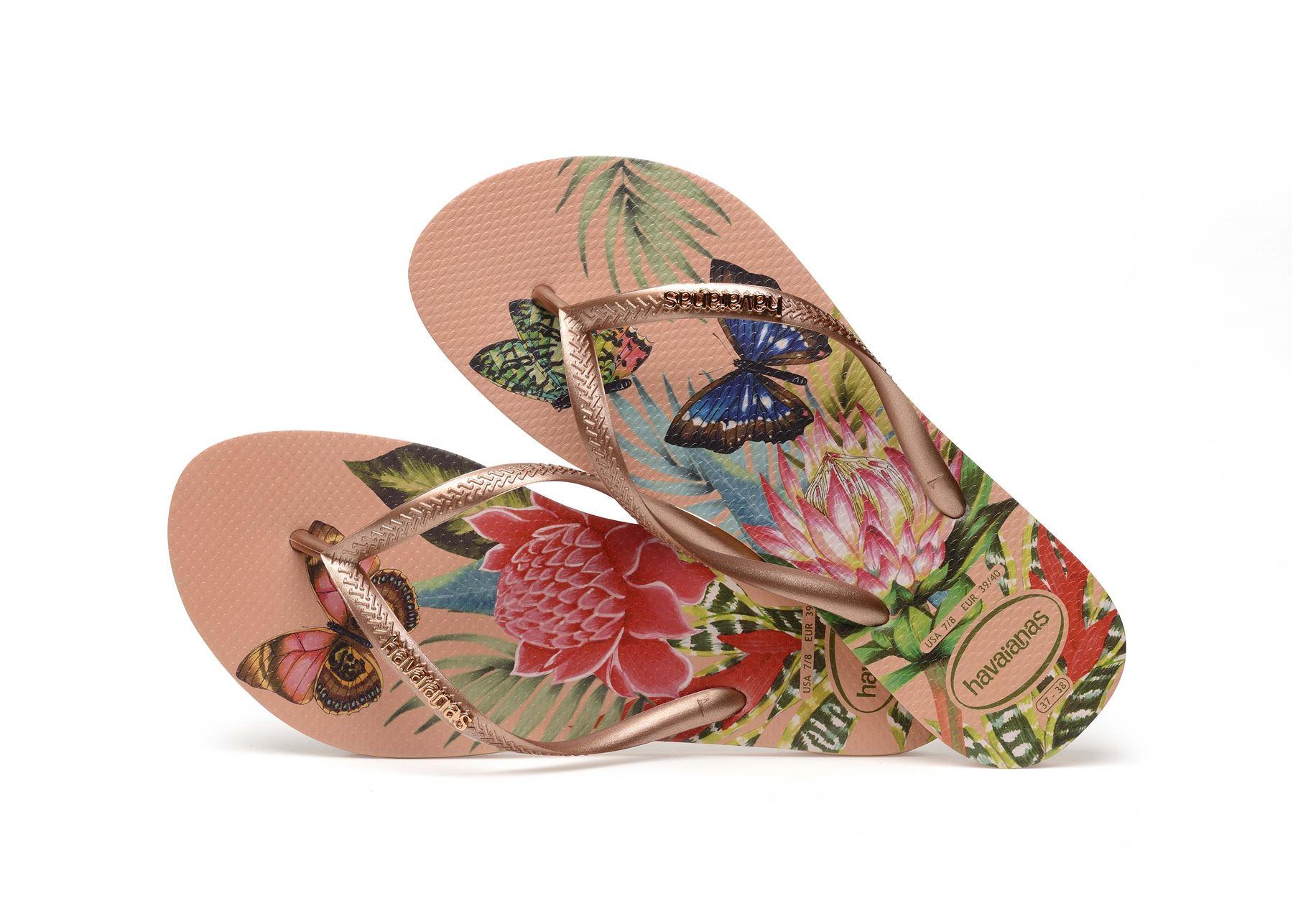 Havaianas-Slim-Tropical-amp-Imprime-Floral-Tongs-Ete-Plage-Piscine-Sandales miniature 13