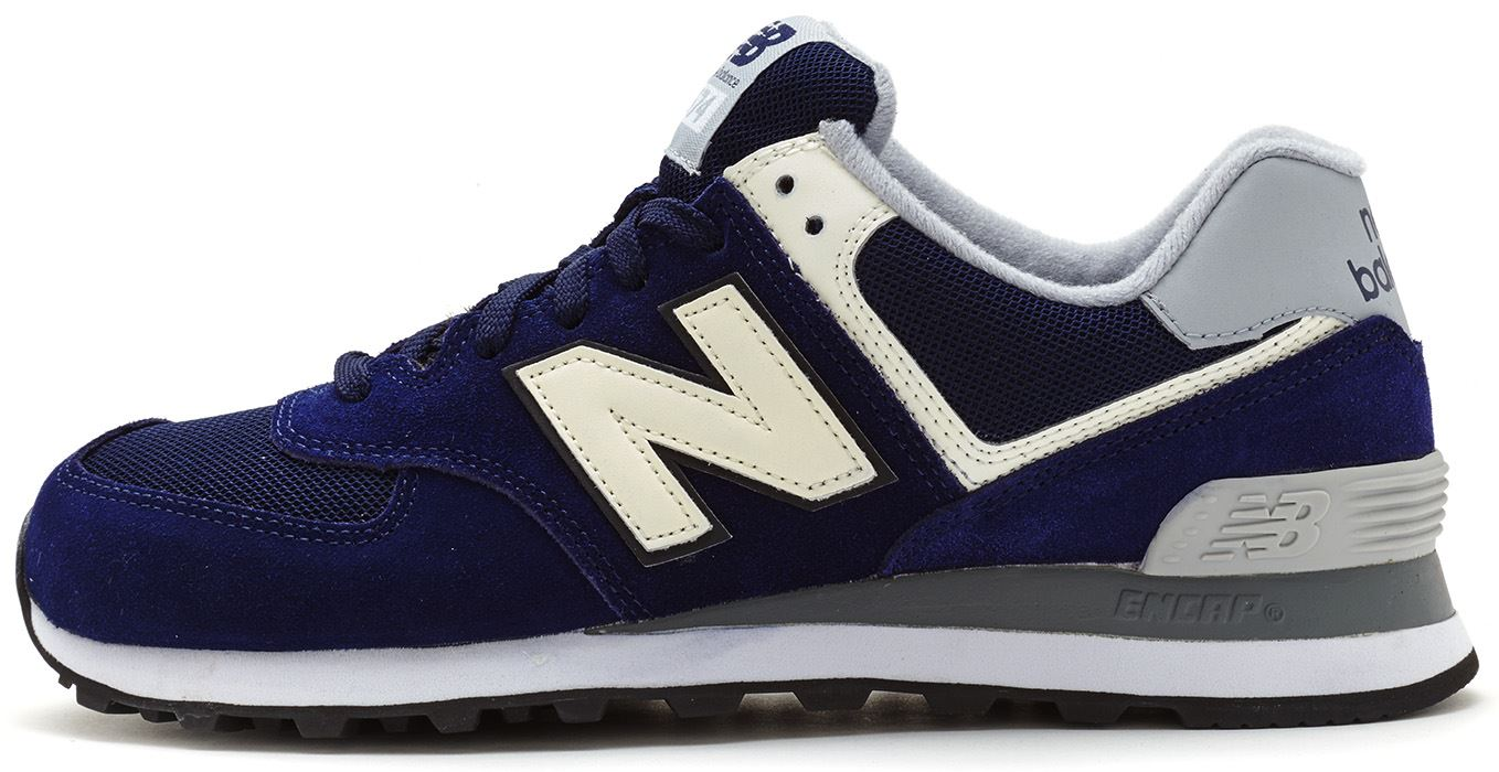 new balance ml 574 classics traditionnels blue white mens trainers