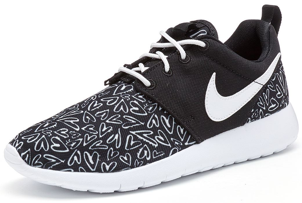 Nike Roshe Run Mesh Printing Black White Shoes