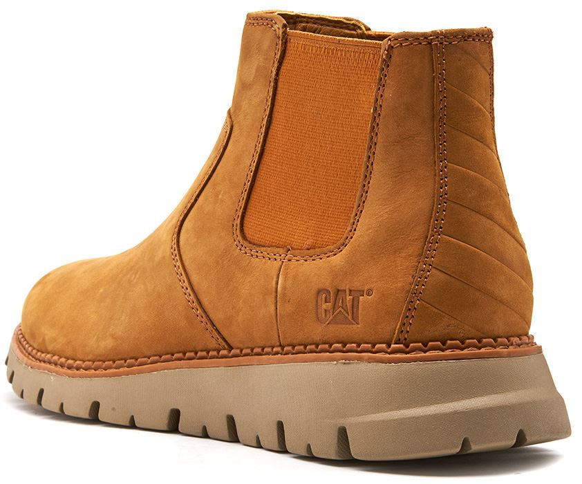 Caterpillar-CAT-Kase-Leather-Ankle-Chelsea-Boots-in-Brown-amp-Tan thumbnail 4