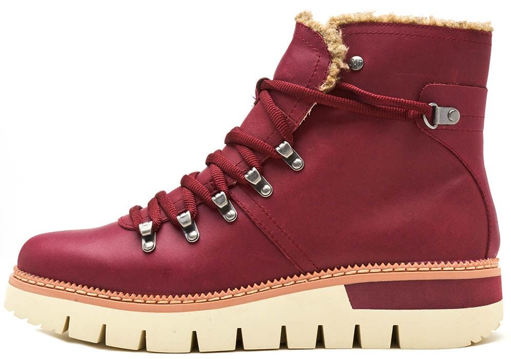 c62676dec9 Caterpillar CAT Attention Fur Waterproof Winter Women Boots in Brown   Wine  Red