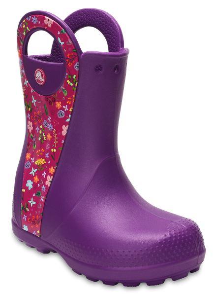 Crocs-Kids-Handle-It-Pluie-Botte-Wellies-en-Bleu-Vert-Rose-Gris-amp-Jaune-12803 miniature 42