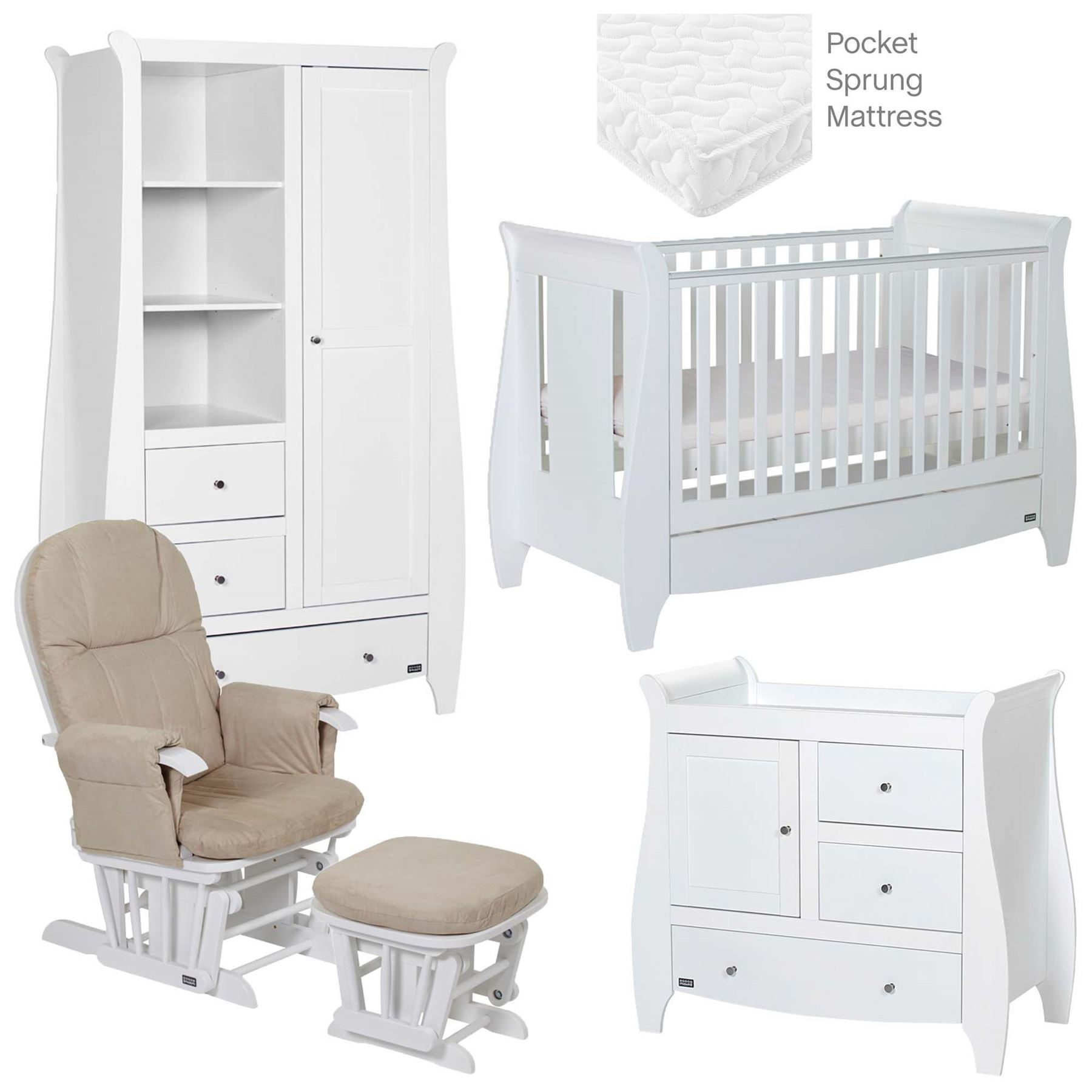 Details about Tutti Bambini LUCAS 5 PIECE ROOM SET WHITE Baby Nursery  Furniture BN