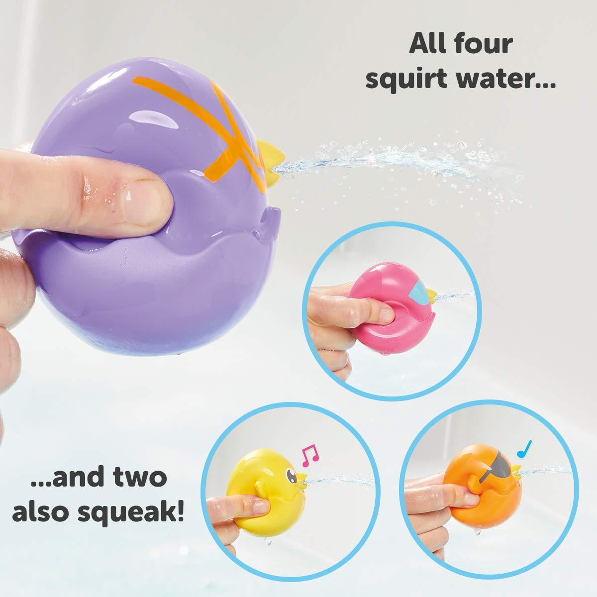 TOMY Toomies Hide and Squeak Bath SquirtersSet of 4 Squeezable Baby Bath|