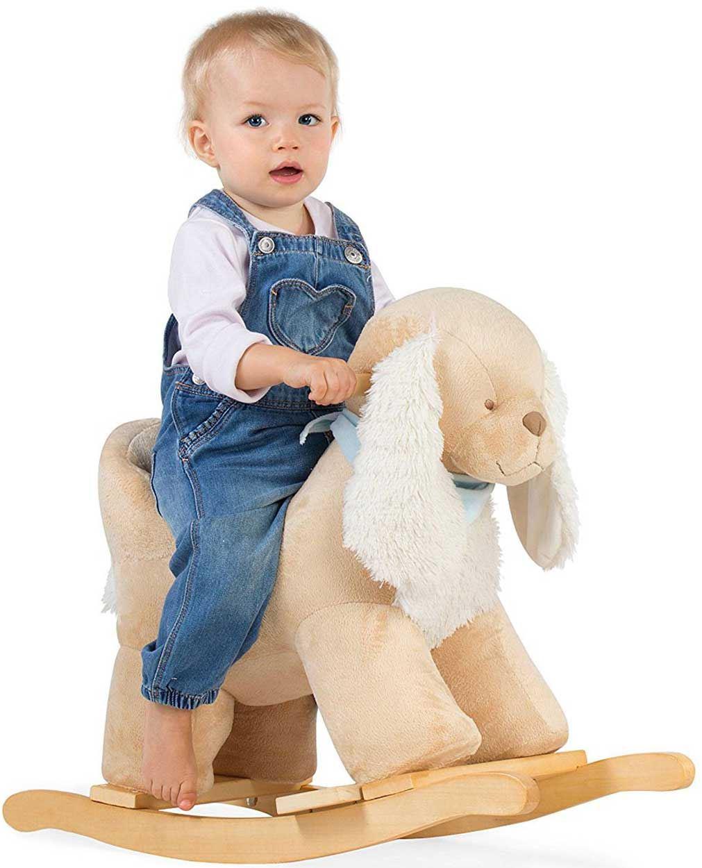 Cavallo A Dondolo In Peluche.Kaloo Les Amis Cavallo A Dondolo Legno Peluche Bambino Regalo Cane