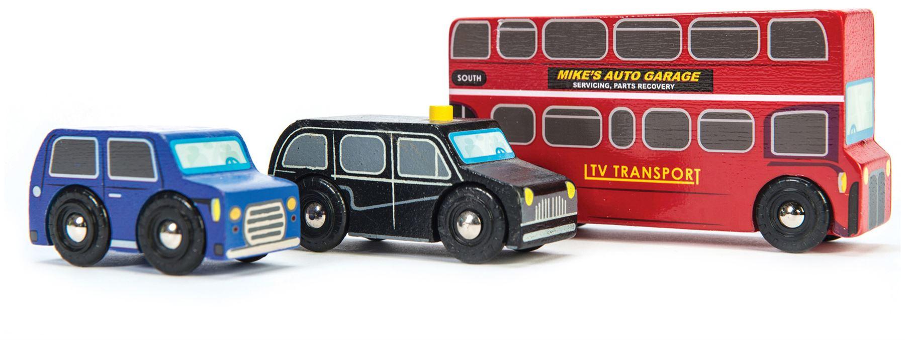 Details about Le Toy Van CARS & CONSTRUCTION LITTLE LONDON VEHICLE SET Wooden Toy BNIP