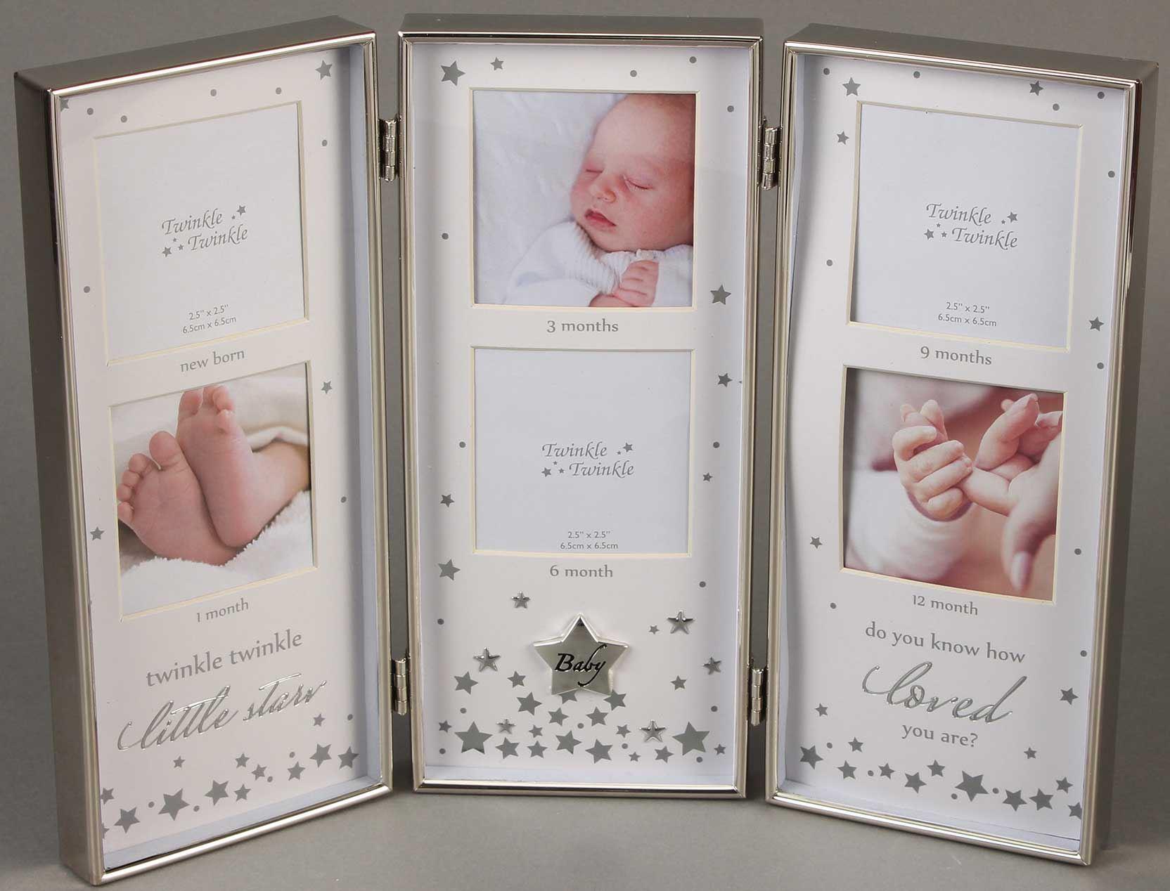 Twinkle Twinkle MARCO DE PLATA TRIPLE FOTO Bautizo Recién Nacido ...
