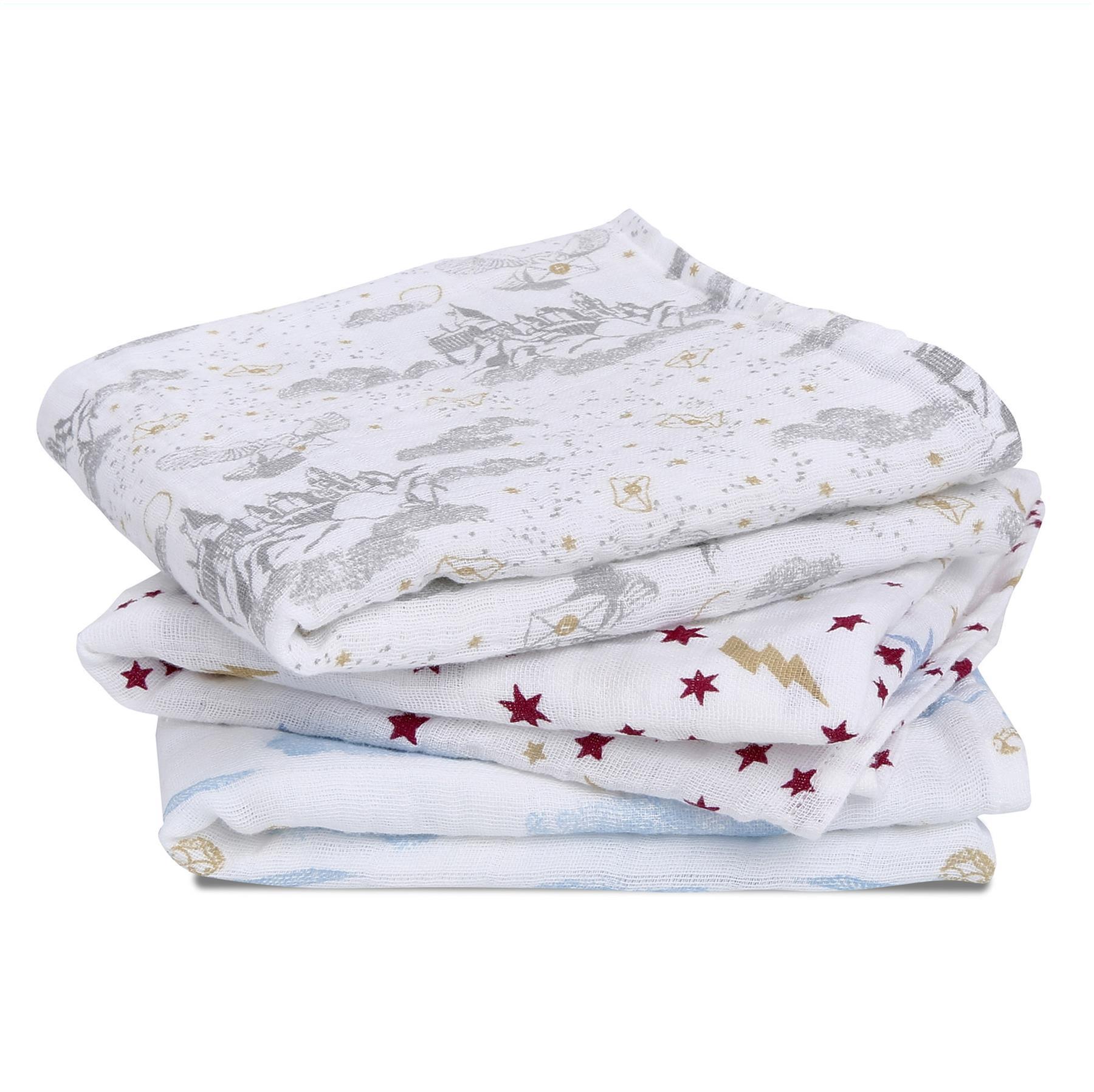 anais 100/% Cotton Muslin swaddles Harry Potter 120 x 120cm 3 Pack aden