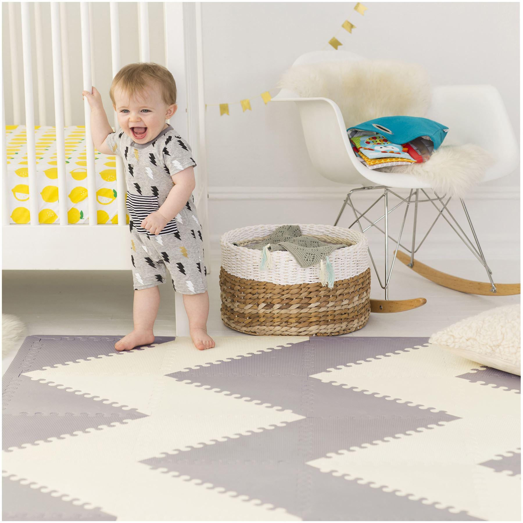 Skip Hop Playspot Geo Foam Floor Tiles Grey Cream Baby