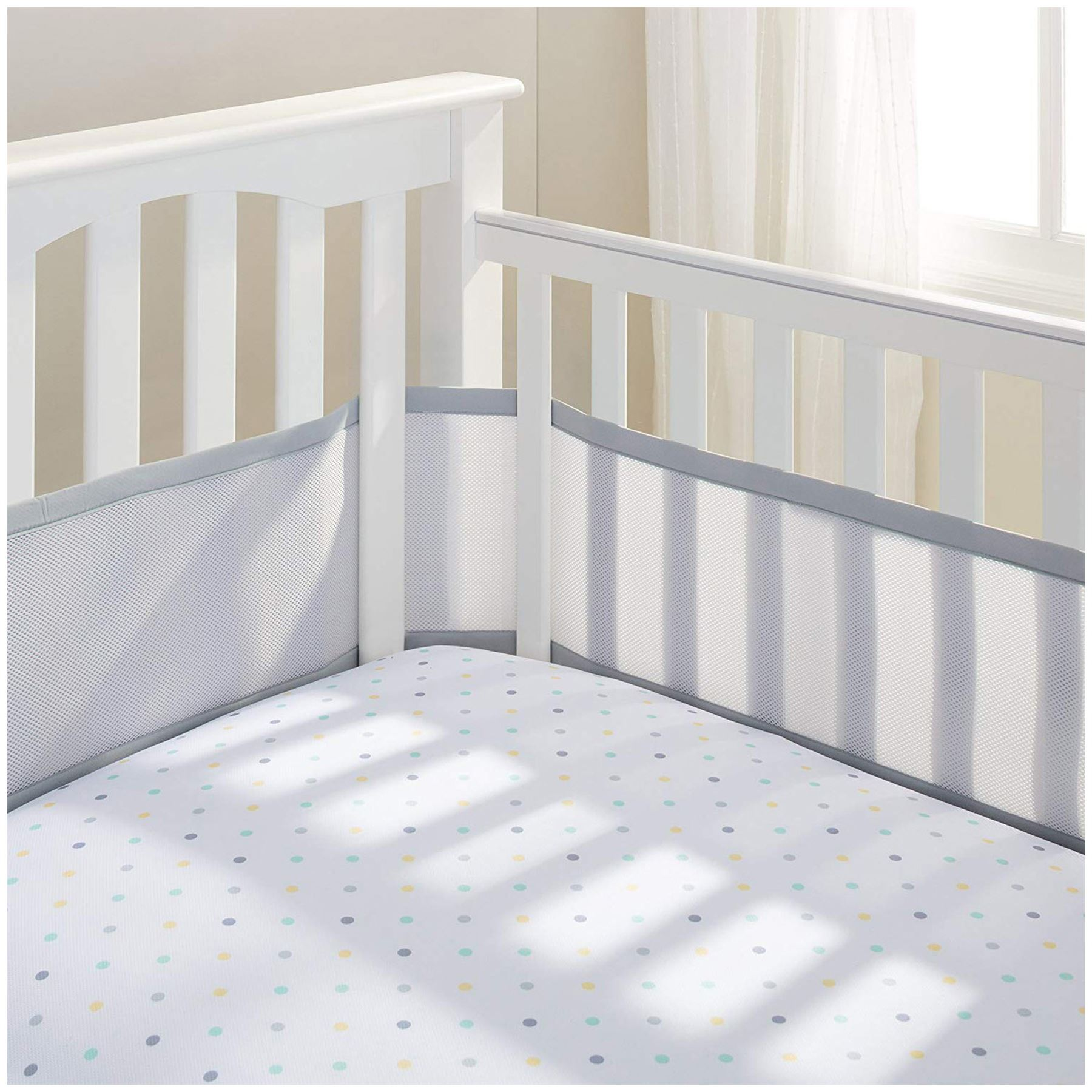 Grey Full Wrap for Cots with Slatted Ends BreathableBaby Mesh Cot Liner