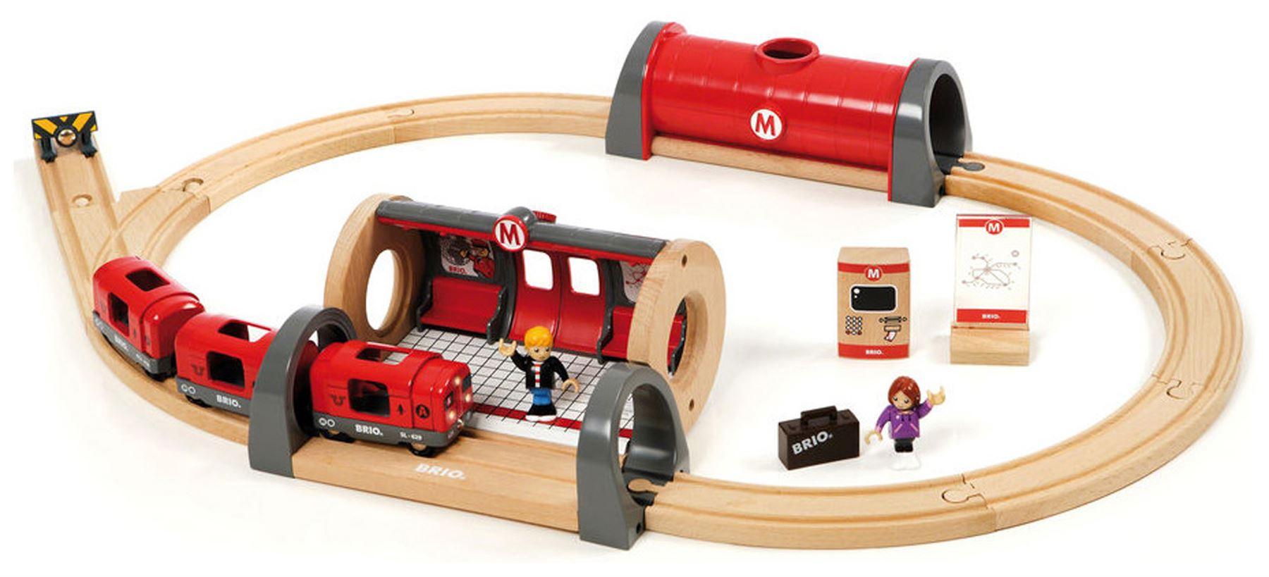 details about brio metro railway set wooden toy train - new