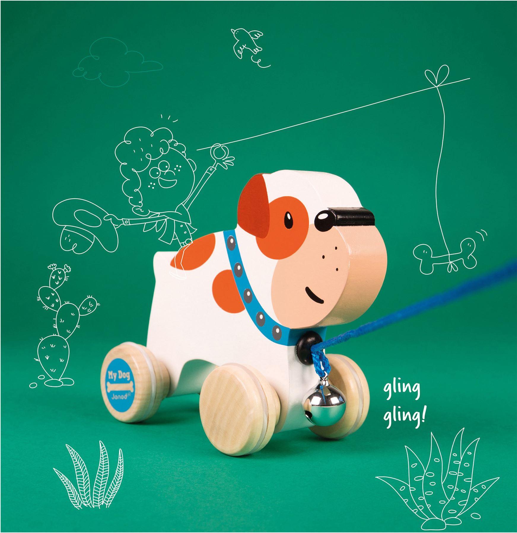 Wei/ß//Orange Janod J08216 Nachziehtier Bulldogge