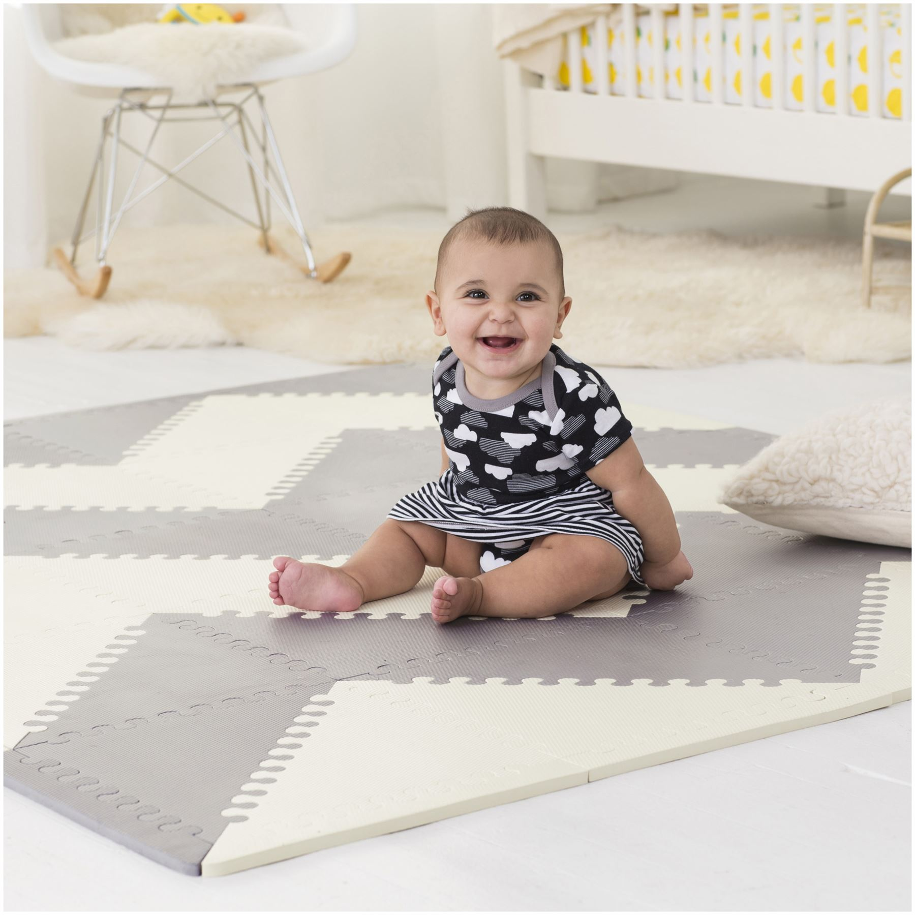 Skip Hop Playspot Geo Foam Floor Tiles Grey Cream Baby Toys Play