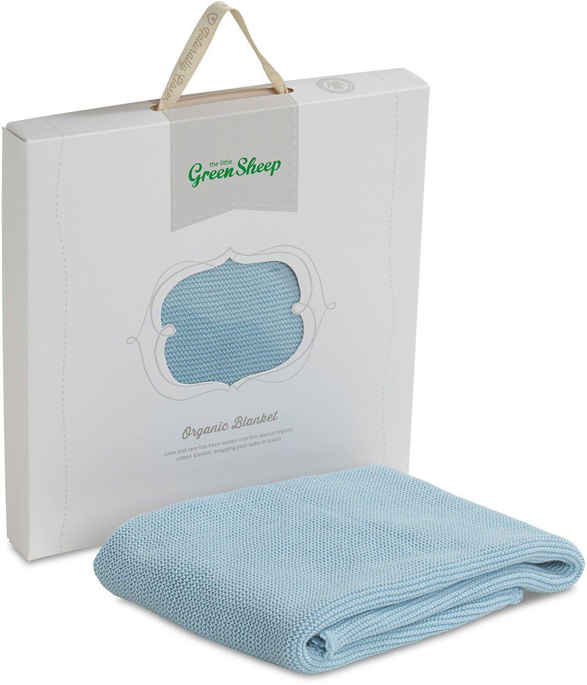 the little green sheep bio knitted babydecke aus 100 baumwolle neu ebay. Black Bedroom Furniture Sets. Home Design Ideas