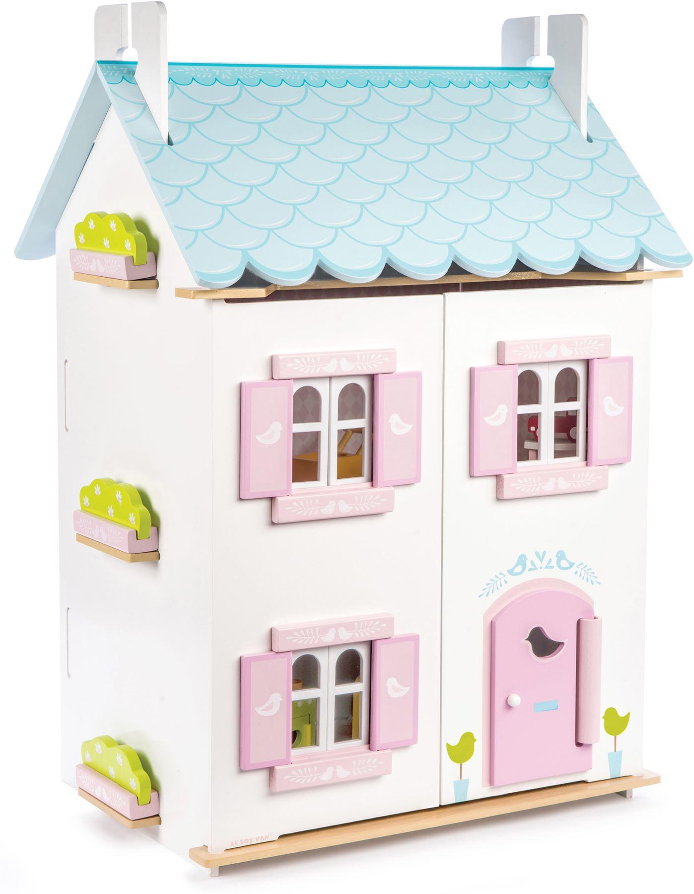 Elegant Le Toy Van PUPPENSTUBEN BLUE BIRD COTTAGE INC MÖBEL Holzpuppenhaus Neu