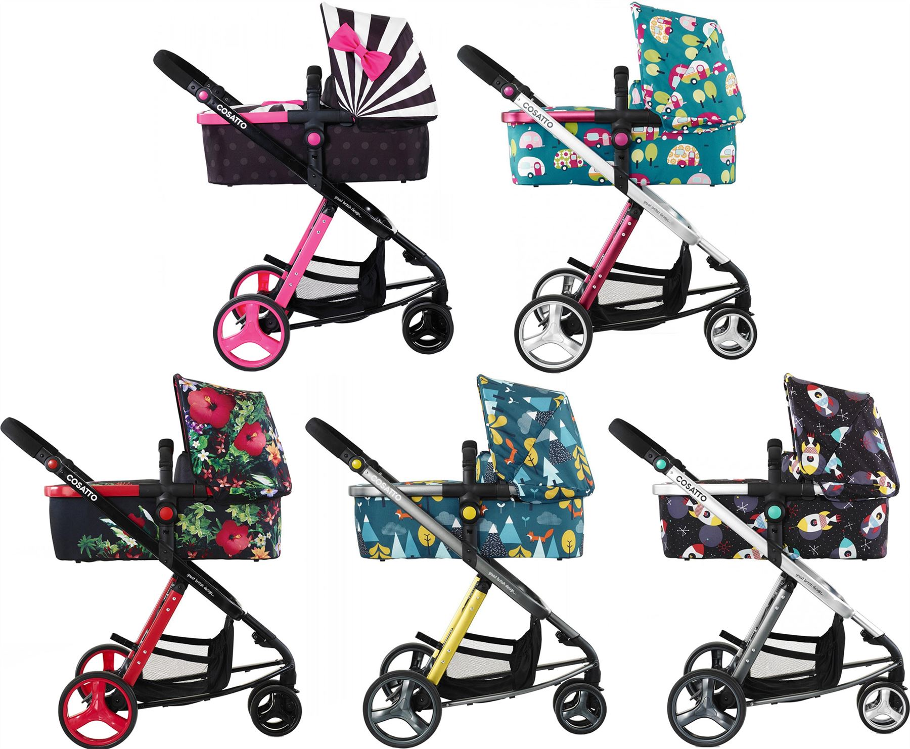 Cosatto GIGGLE 2 TRAVEL SYSTEM Buggy Carry Cot Changing Bag Baby