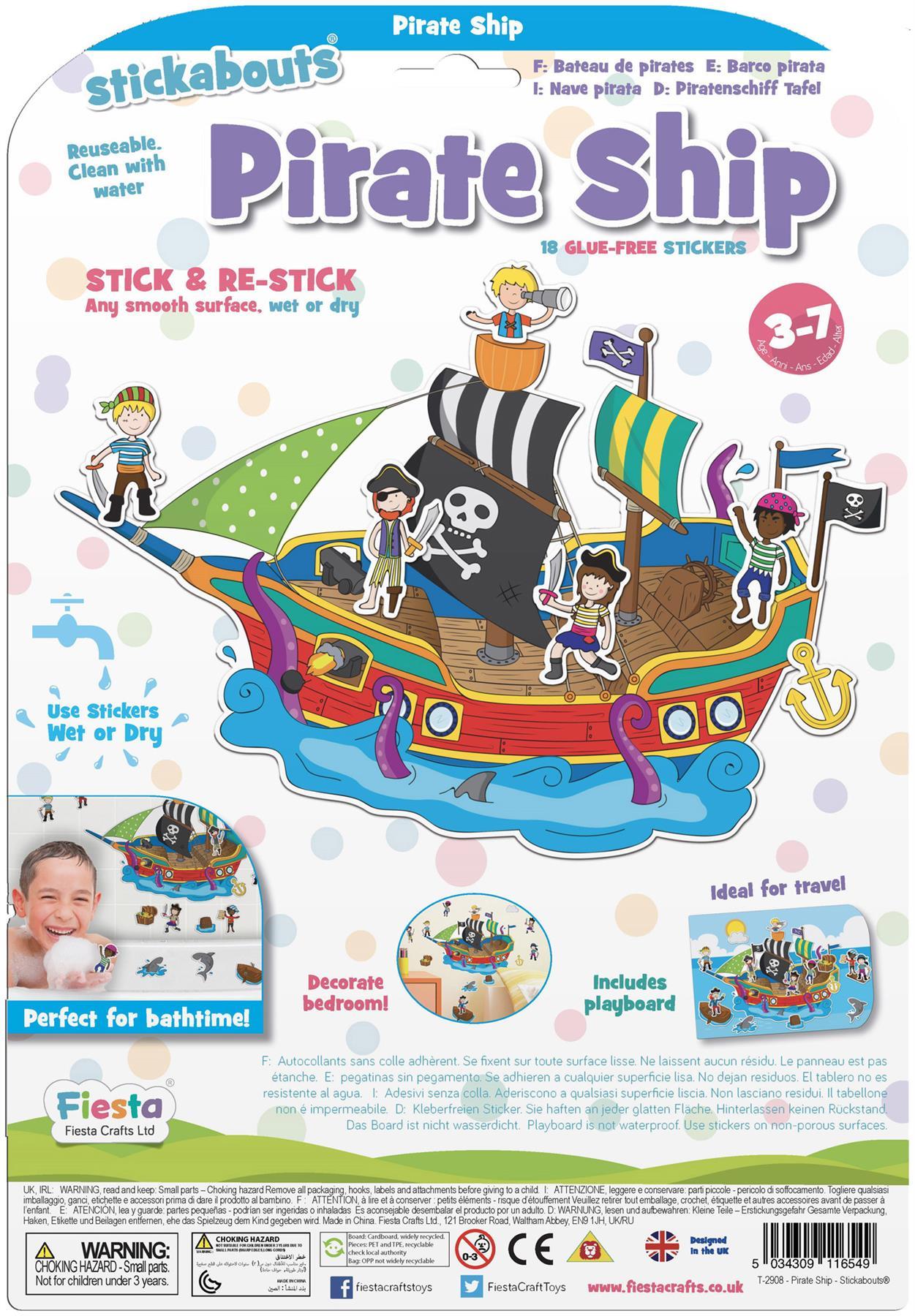 Fiesta Crafts STICKABOUTS AQUARIUM Reusable Sticker Toy BN