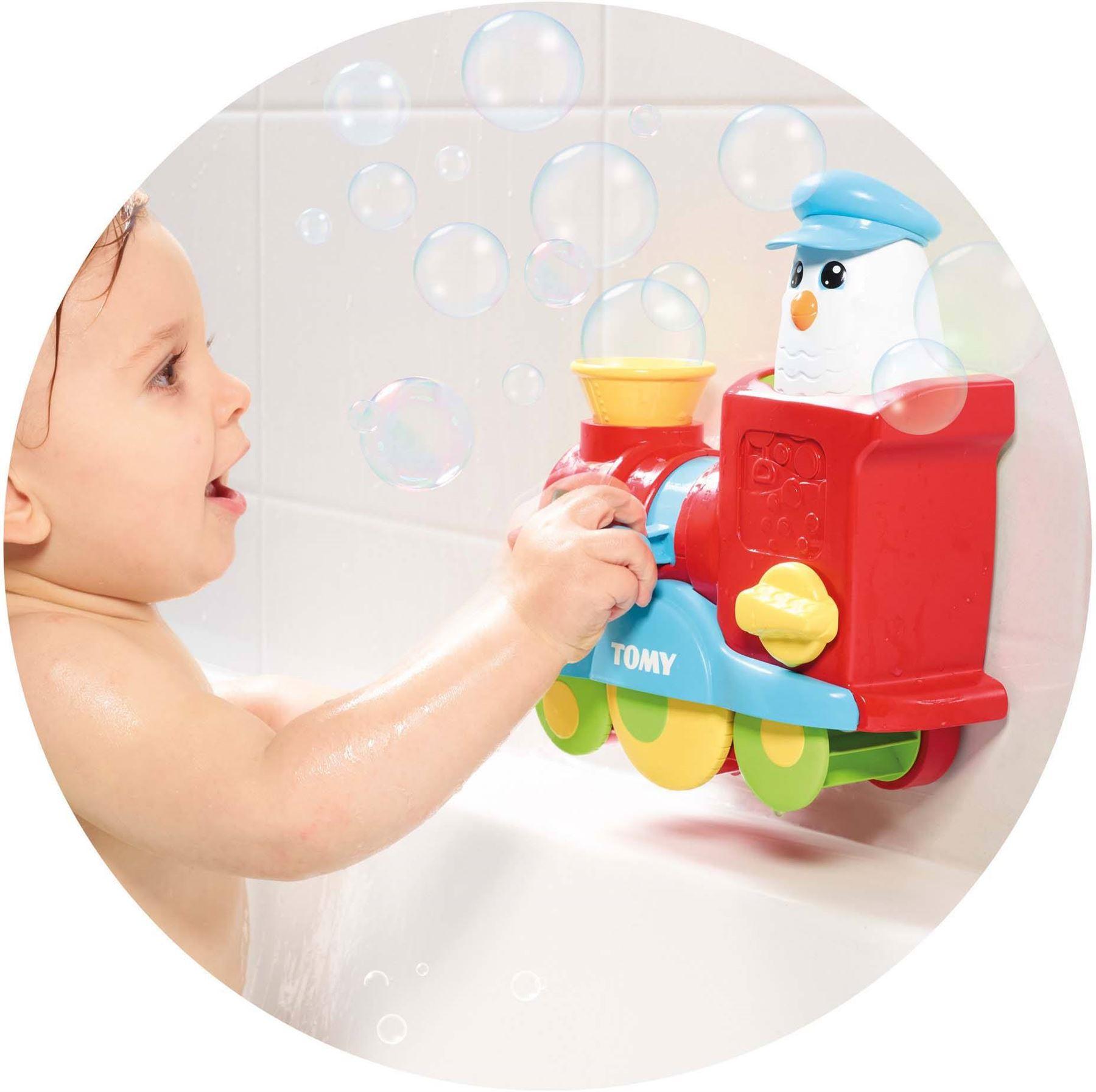 Tomy BUBBLE BLAST TRAIN Fun Bath Toy Toddler Spin Pour Scoop Splash ...