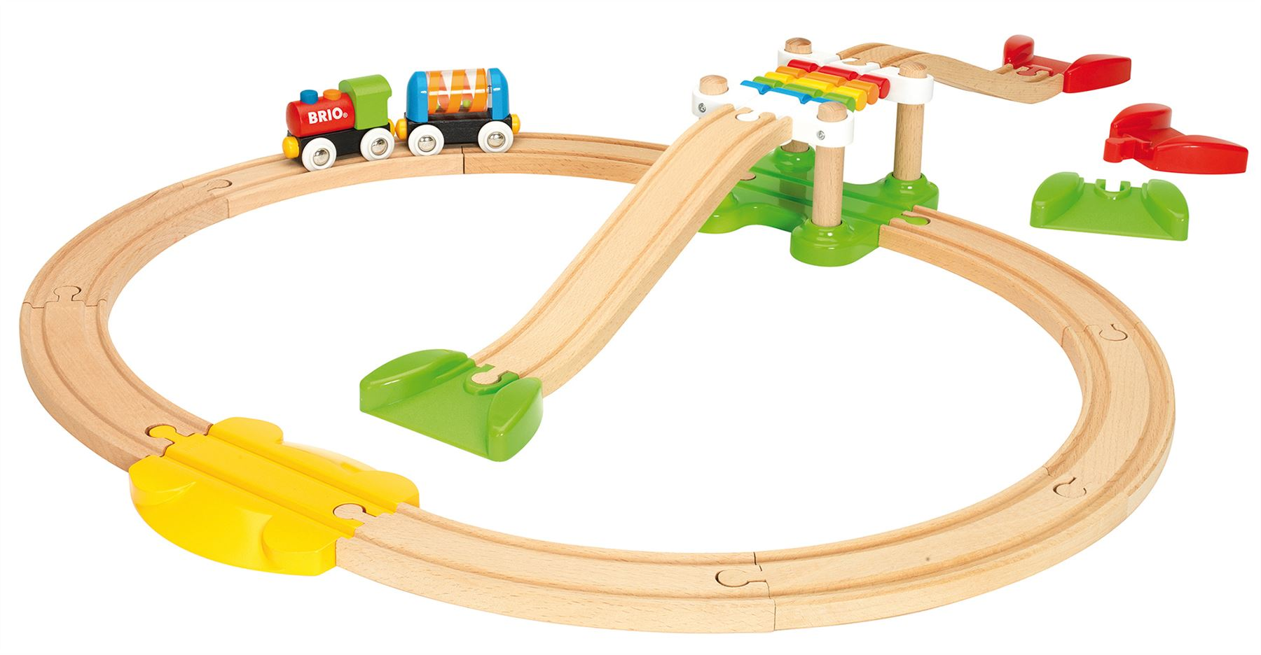 Baby Brio Doppelhängebrücke Baby/Kleinkind/Kind Holzspielzeug Eisenbahnschienen Neu
