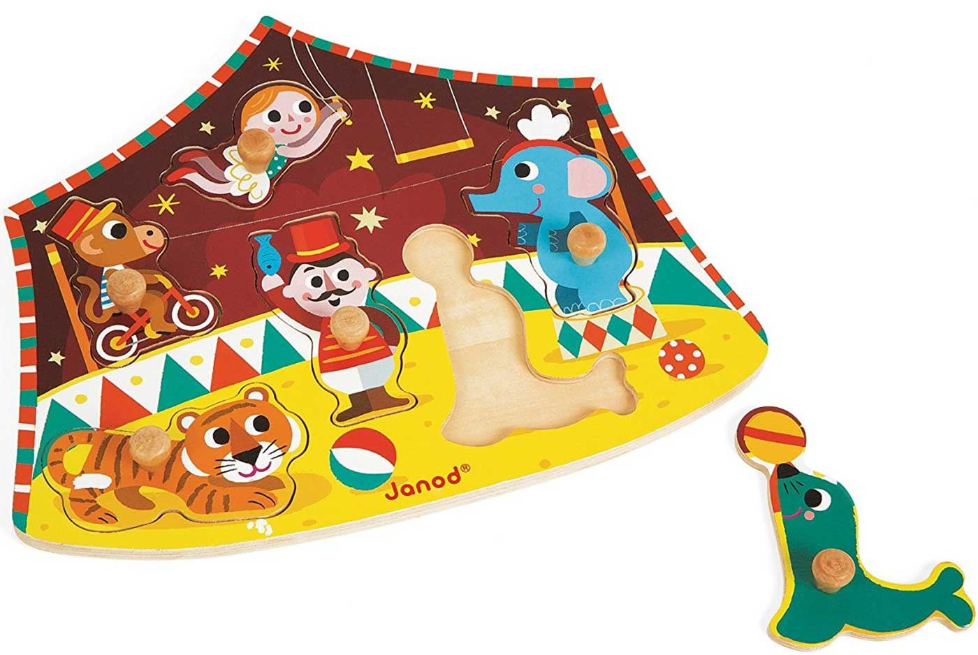 Janod Circus Puzzle Wooden Peg Activity Toy