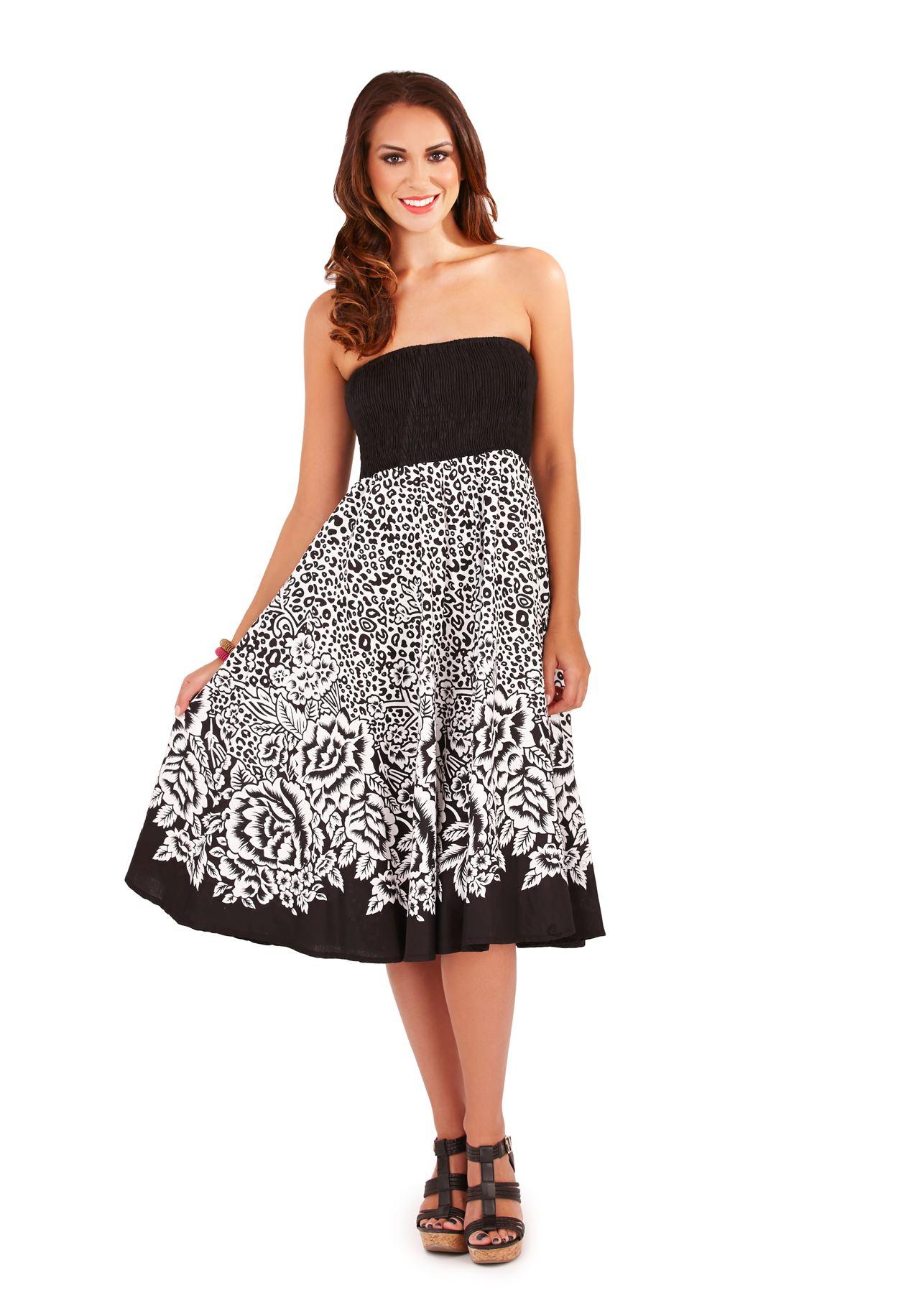 Womens Dress Summer Beach Wear Skirt Holiday Casual Ladies Dresses ...