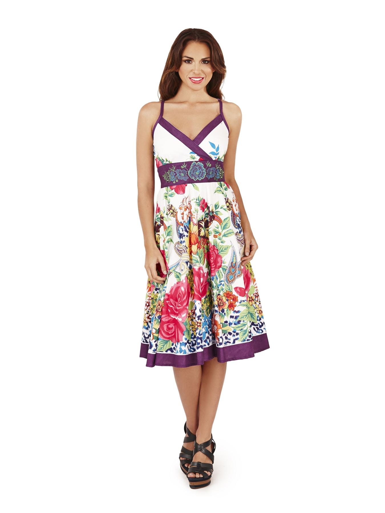 Womens Dress Summer Beach Holiday Casual Cotton Dresses Floral ...
