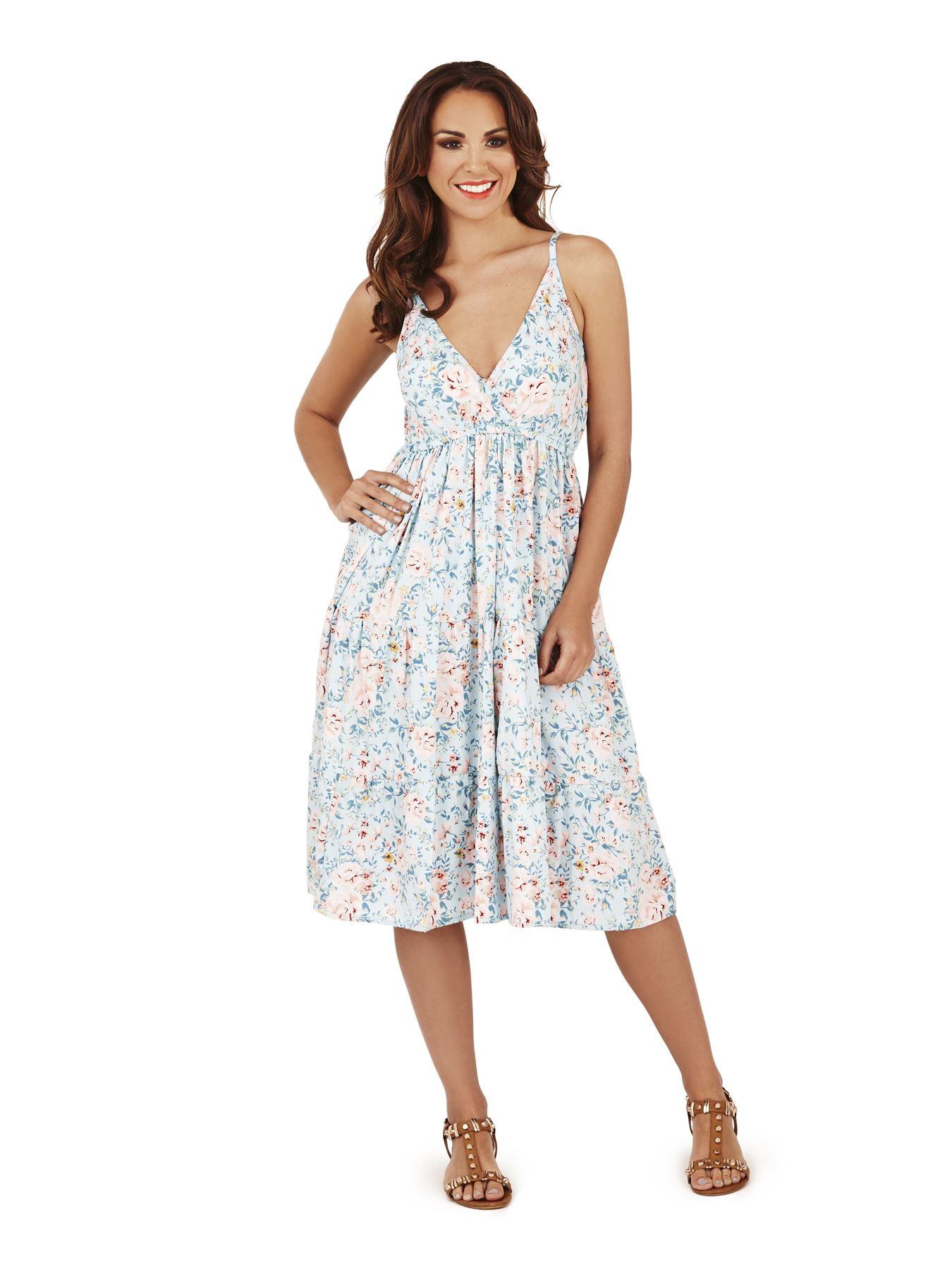 Womens Midi Dress Floral Tropical Print Sundress Ladies Skater ...