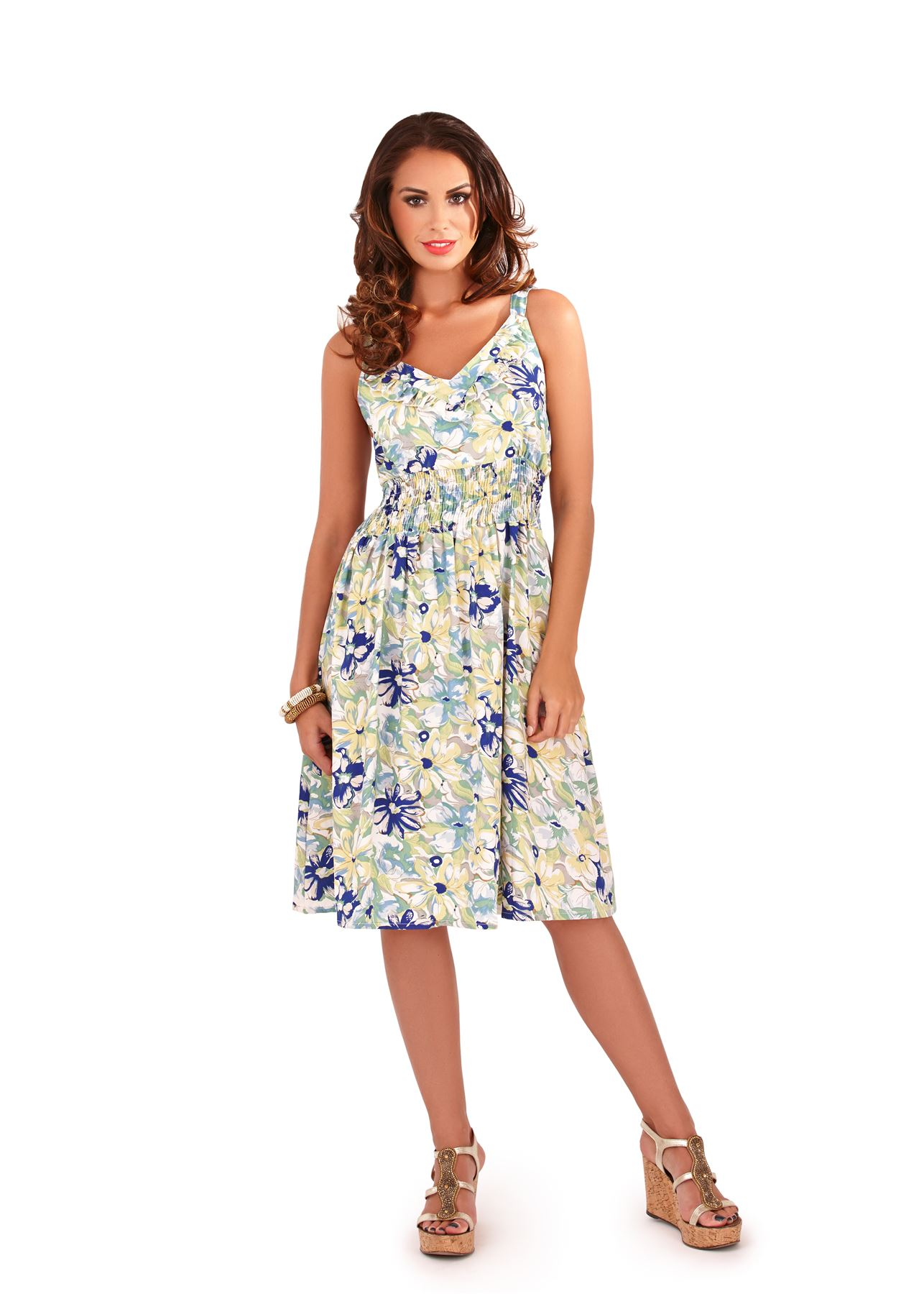 Summer Womens New Floral Tropical Print Ladies Skater Midi Dress ...