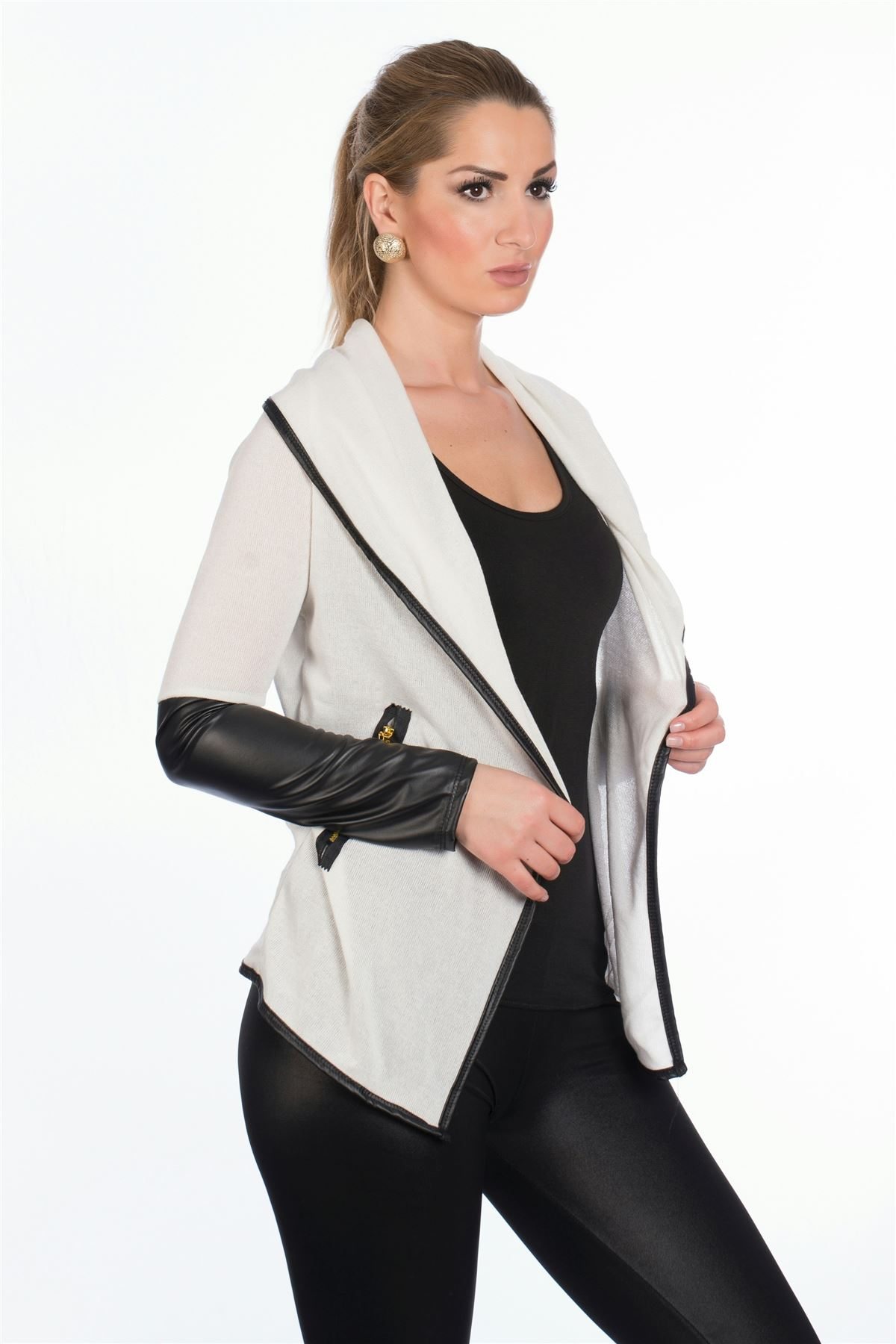 New Womens Ladies Wet Look PVC Long Sleeve Waterfall Cardigan ...