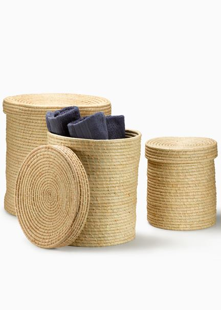 Natural Raffia Baskets With Lid Great Storage Available