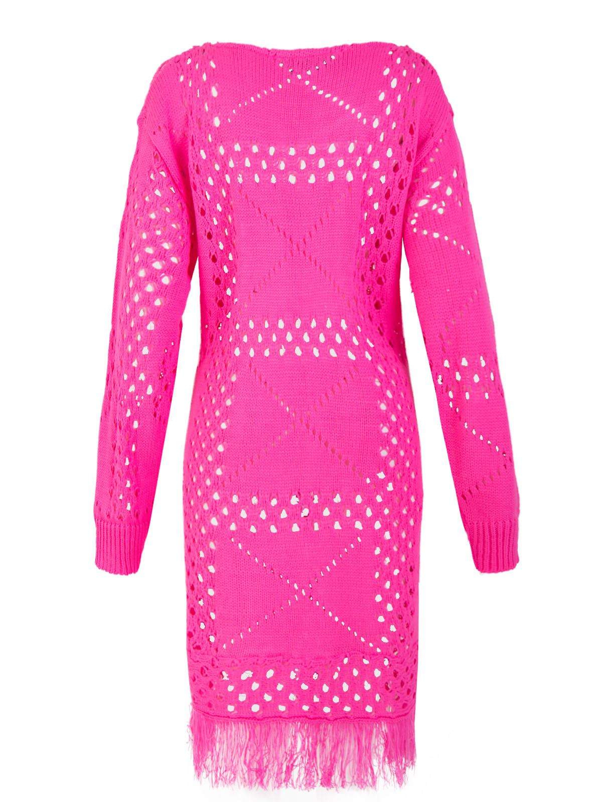 Womens Ladies Crochet Knitted Midi Dress Long Jumper Fringe Pullover ...