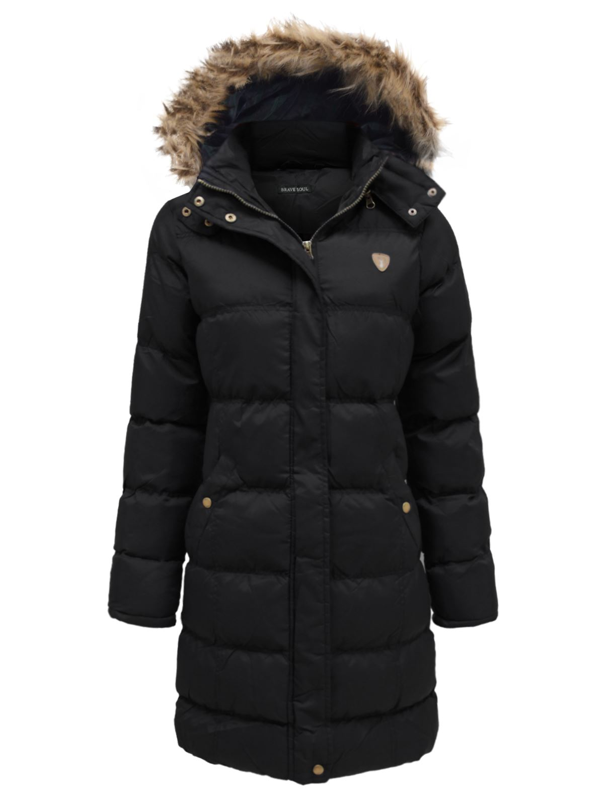 Ladies Fur Hooded Padded Quilted Puffer Long Parka Jacket Womens ... : quilted ladies coat - Adamdwight.com