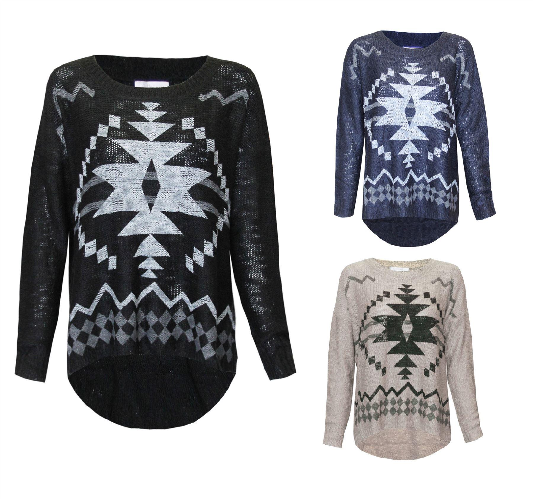 UK Ladies Womens Geometric Aztec Knitted Oversized Loose Jumper Hi ...