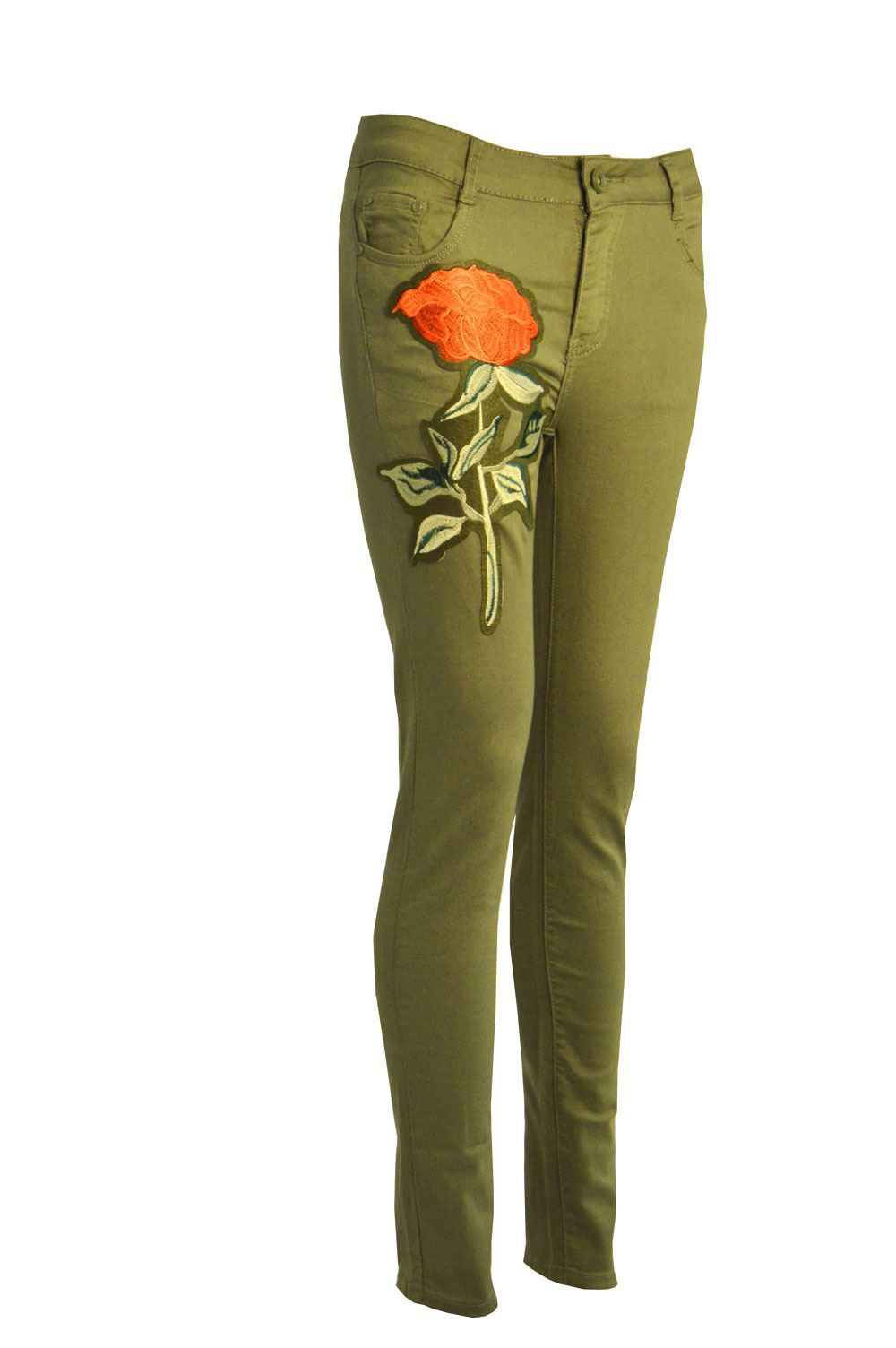 Womens ladies embroidered denim high waisted skinny fit