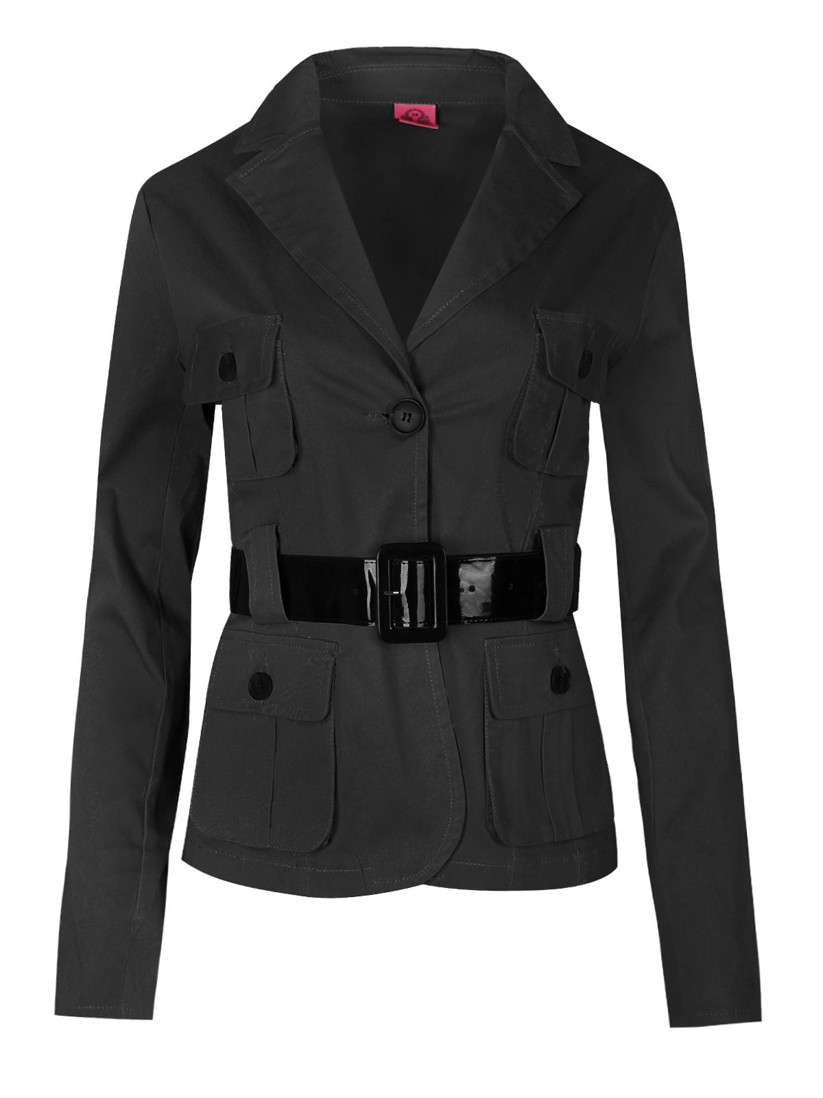 Womens Ladies Two Buttoned Blazer Belted Military Long