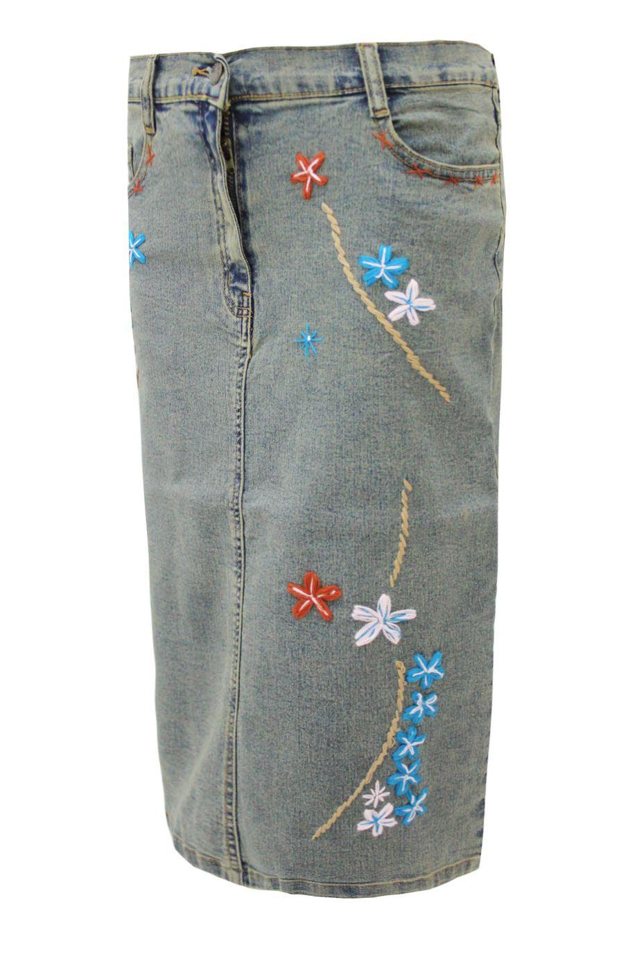 new womens ladies denim embroidered stretch long skirt ebay